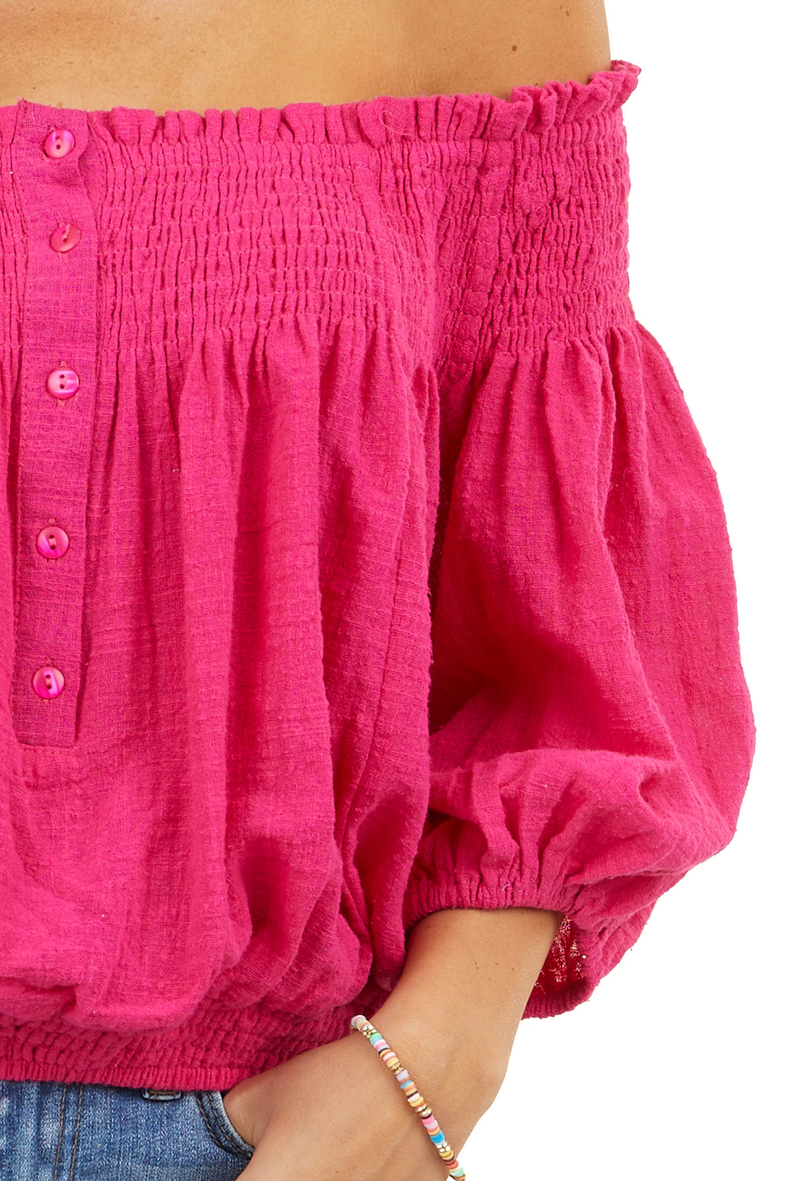 Fuchsia Smocked Off The Shoulder Blouse with Front Buttons