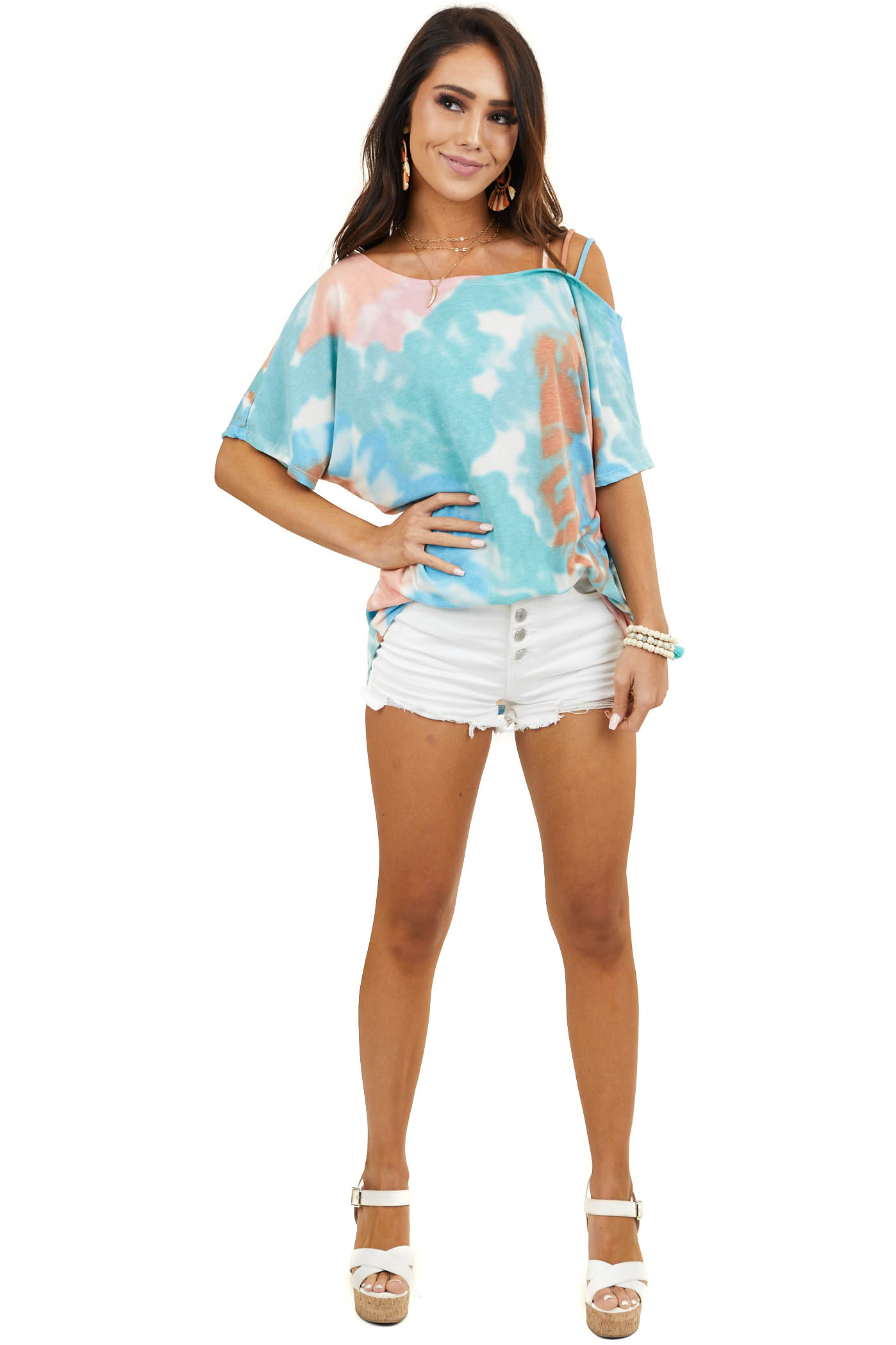 Teal Tie Dye Knit Top with One Strappy Cold Shoulder