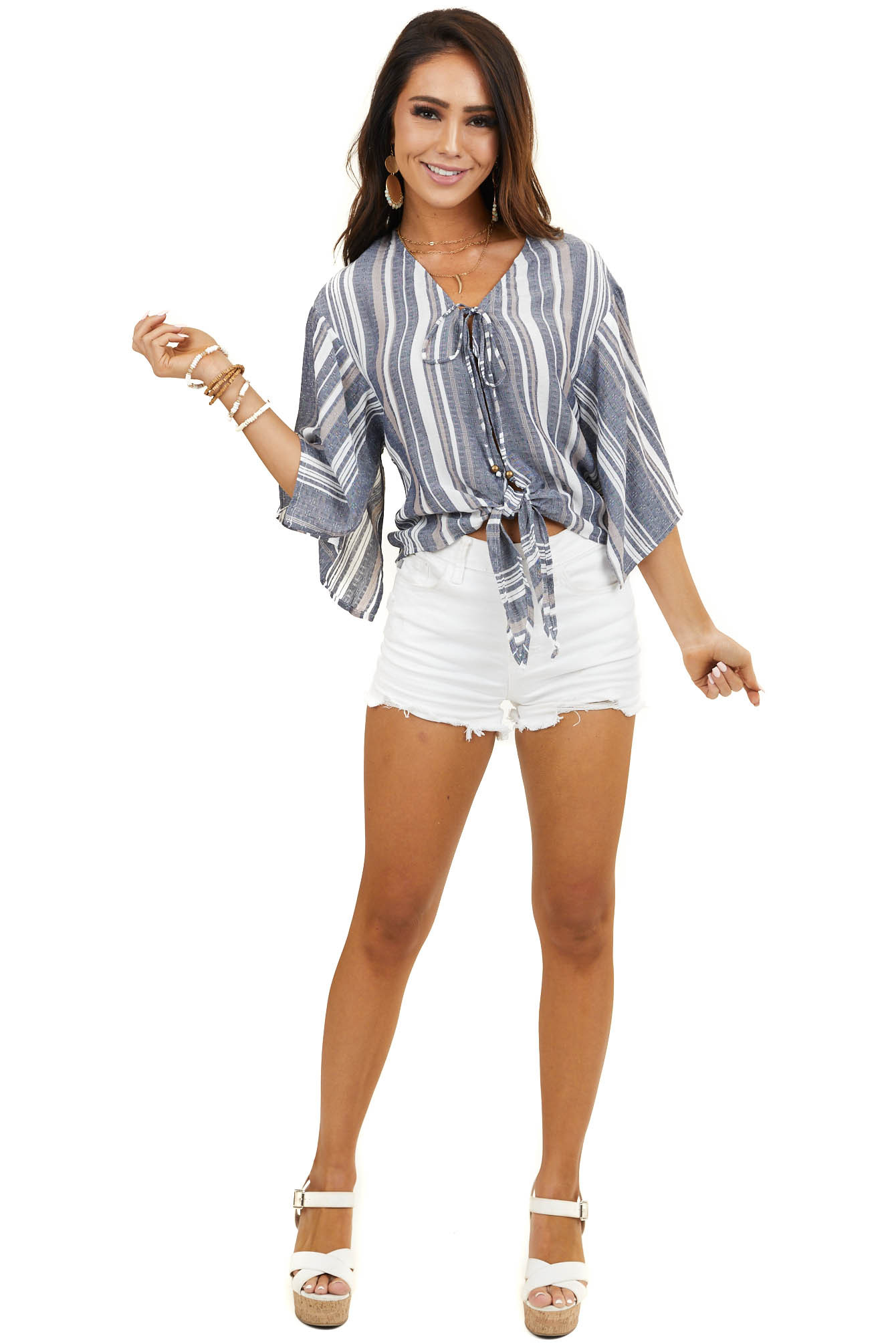 Vintage Denim Striped Lace Up Top With 3/4 Sleeves