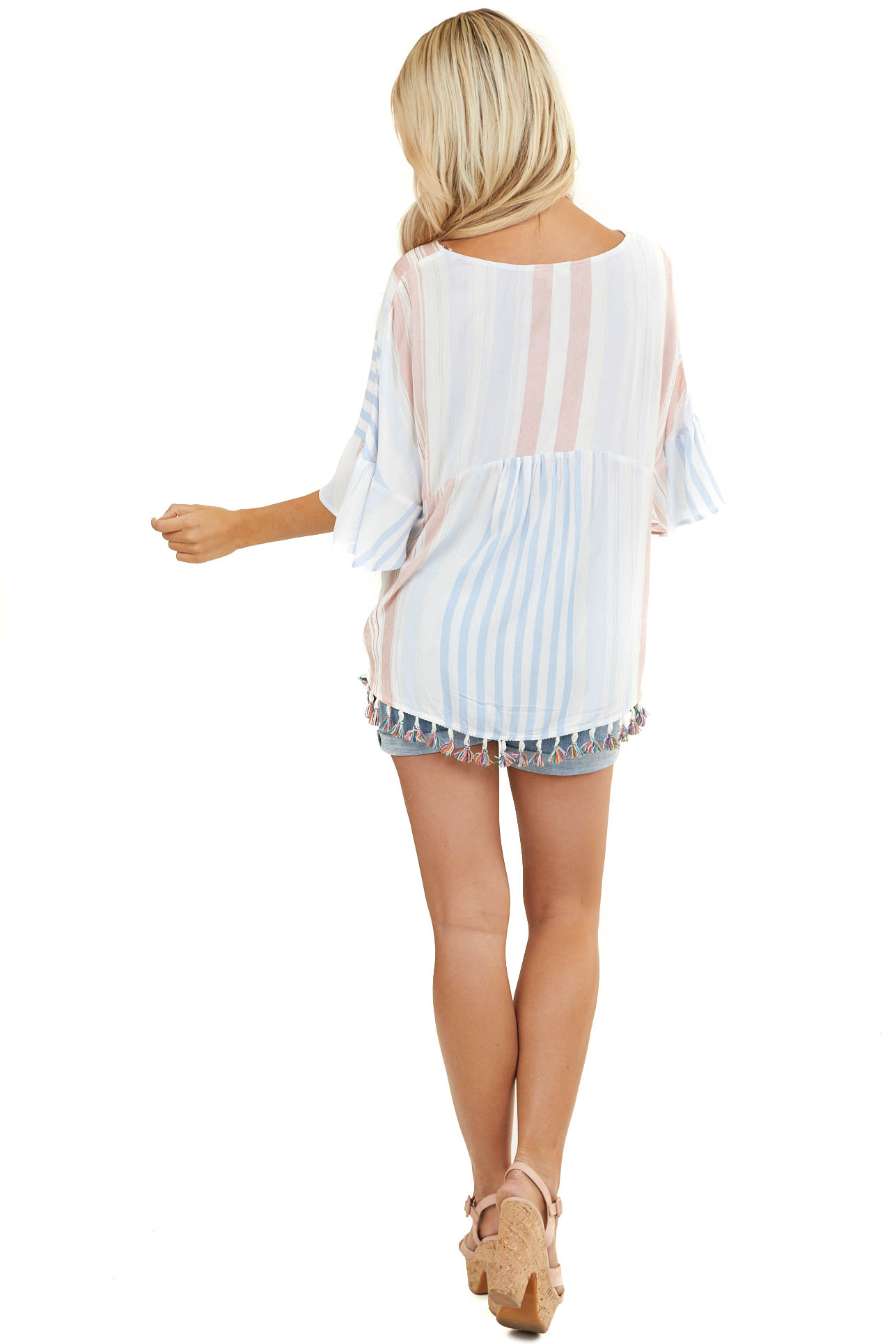 Multicolor Striped Lightweight Tunic Top with Tassel Detail
