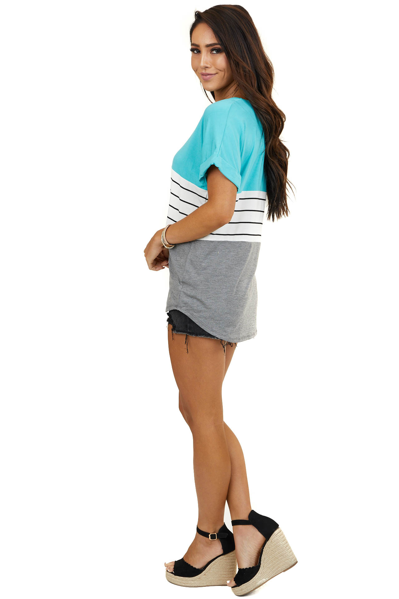 Aqua Blue Colorblock Striped Top with Short Cuffed Sleeves