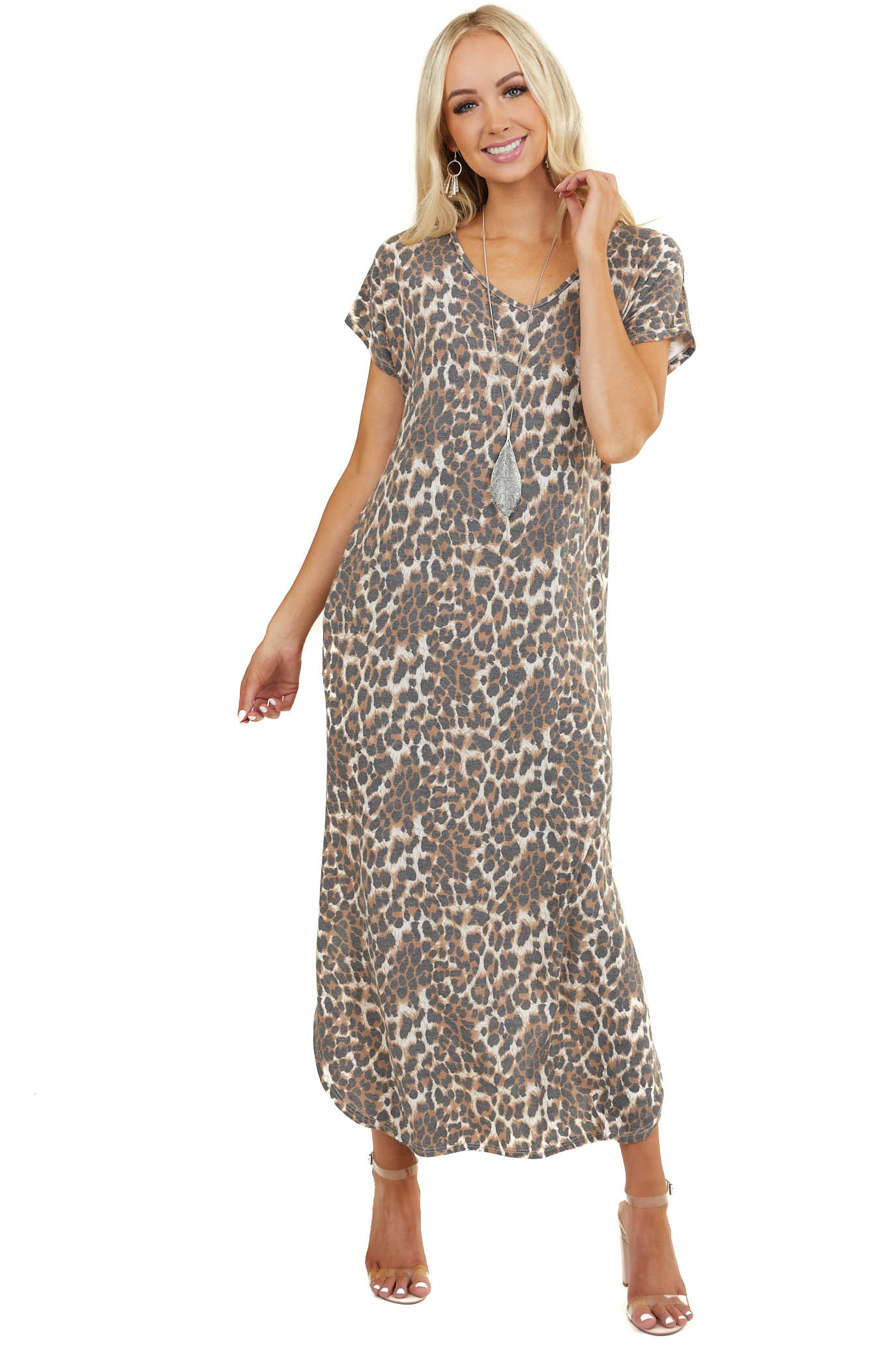 Cognac Leopard Print Short Sleeve Maxi Dress with Side Slits