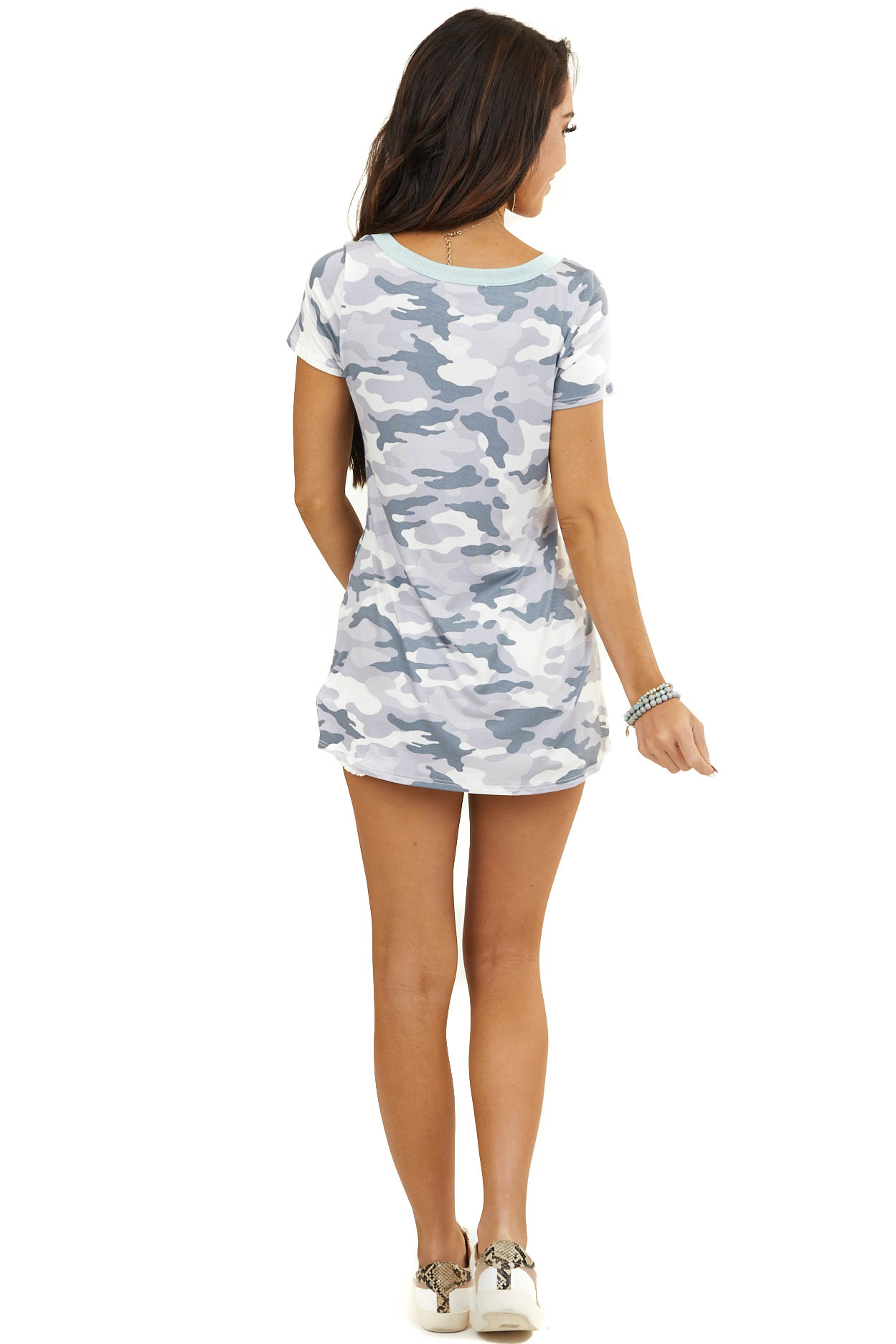 Dove Grey Camo Soft Short Sleeve Top with Mint Neckline