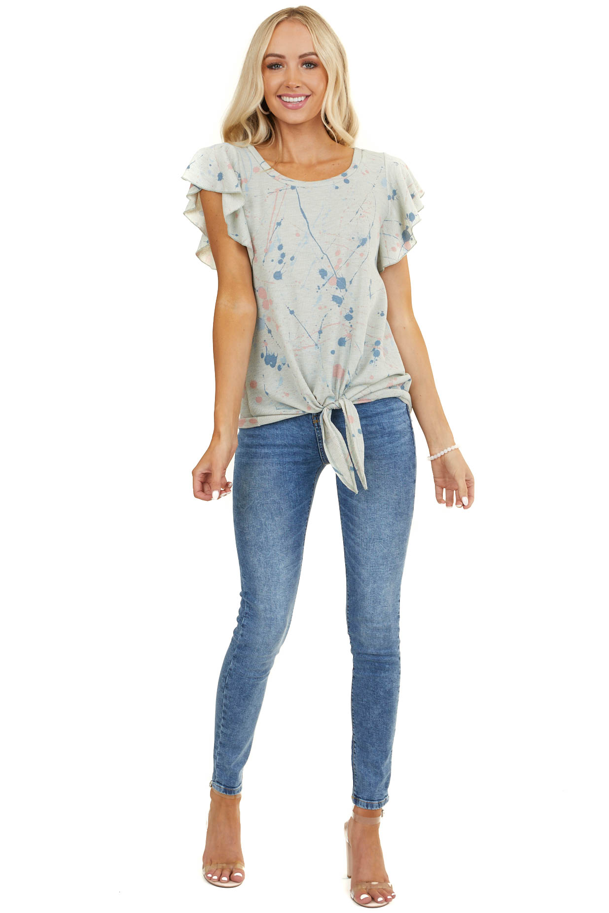 Dusty Sage Splatter Paint Top with Ruffle Sleeves and Tie