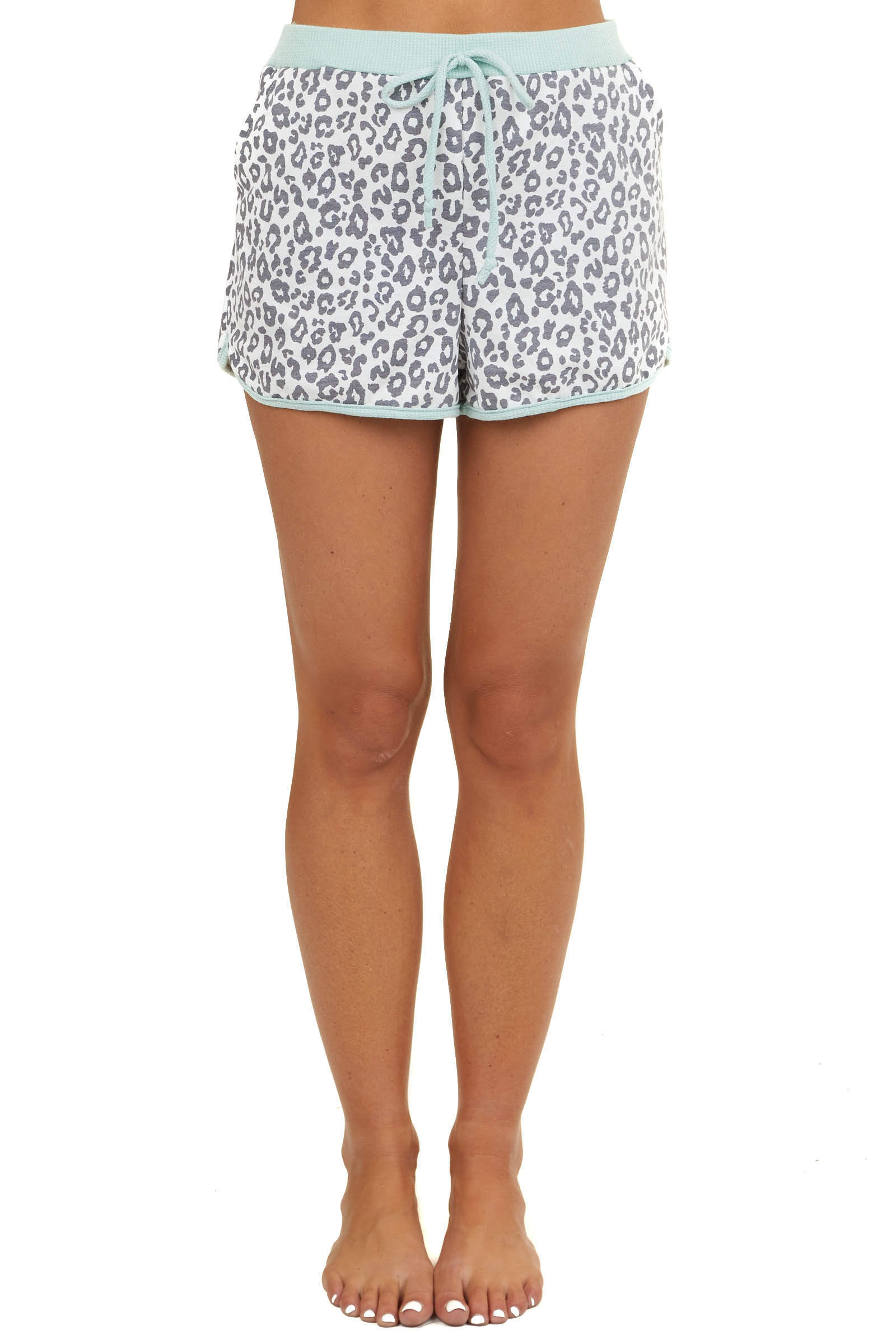 Ivory Leopard Print Drawstring Shorts with Pockets