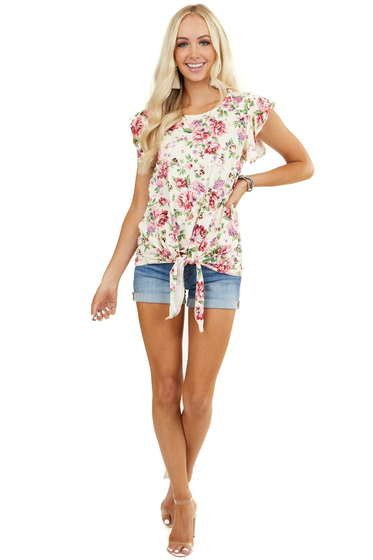 Cream Floral Print Short Ruffle Sleeve Top with Front Tie
