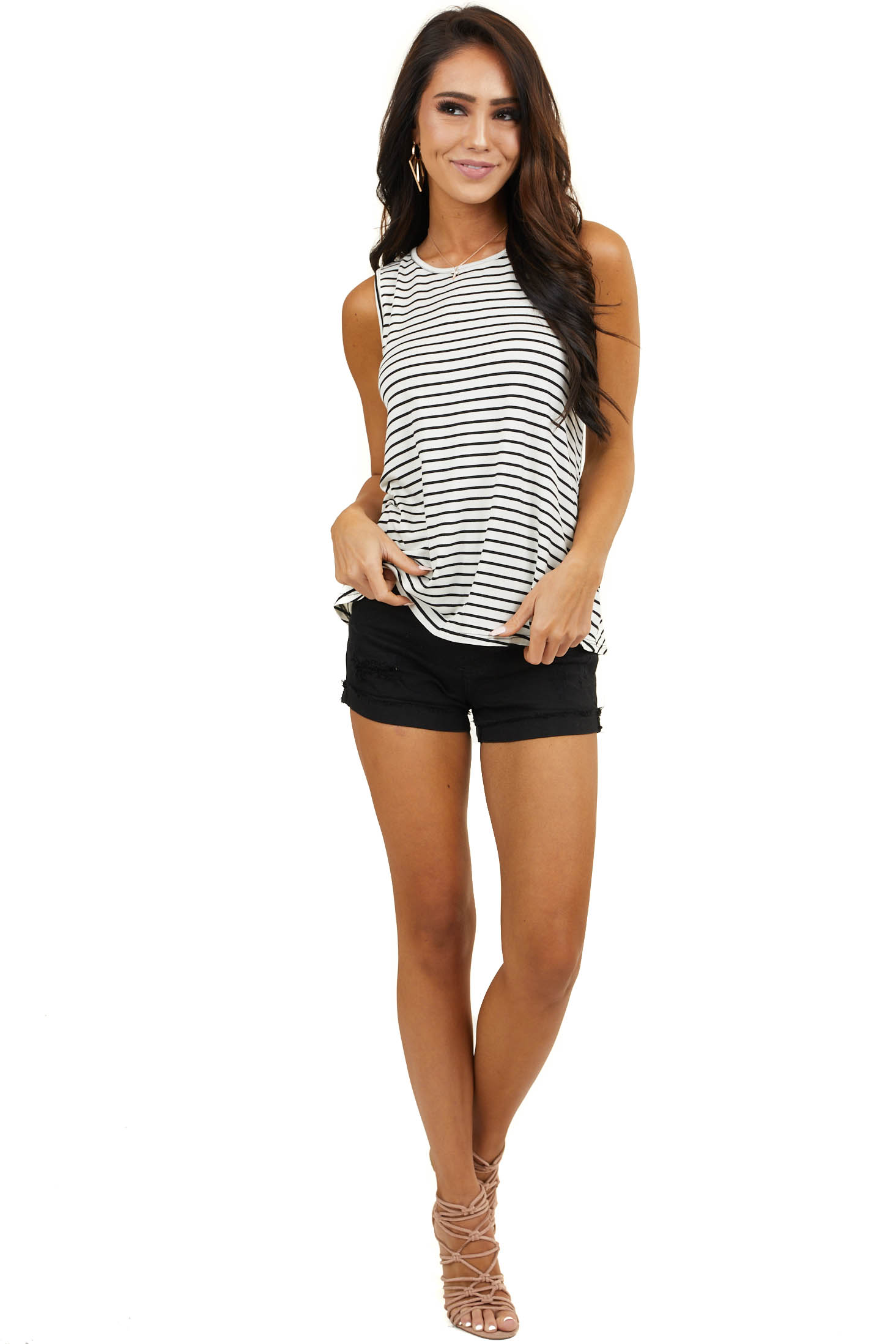 Off White and Black Striped Print Sleeveless Knit Top