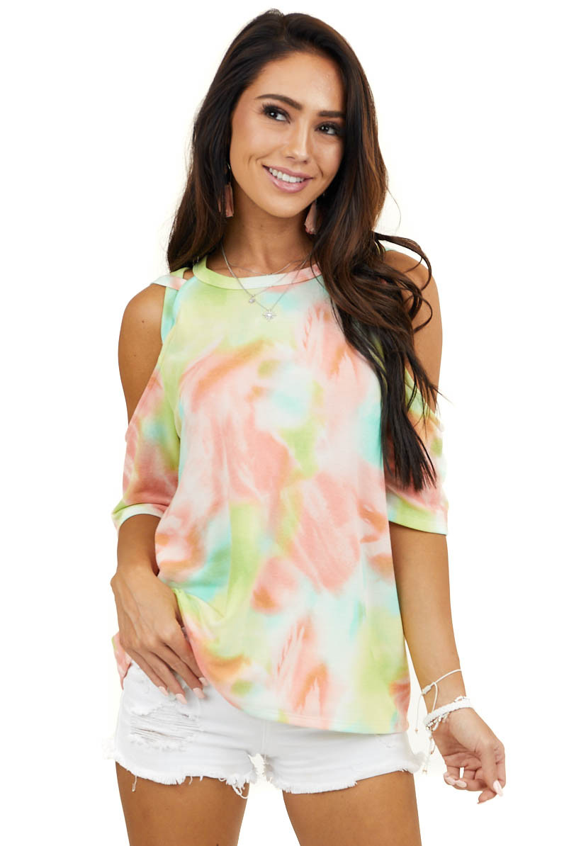 Green Tie Dye Top with Criss Cross Strappy Cold Shoulders
