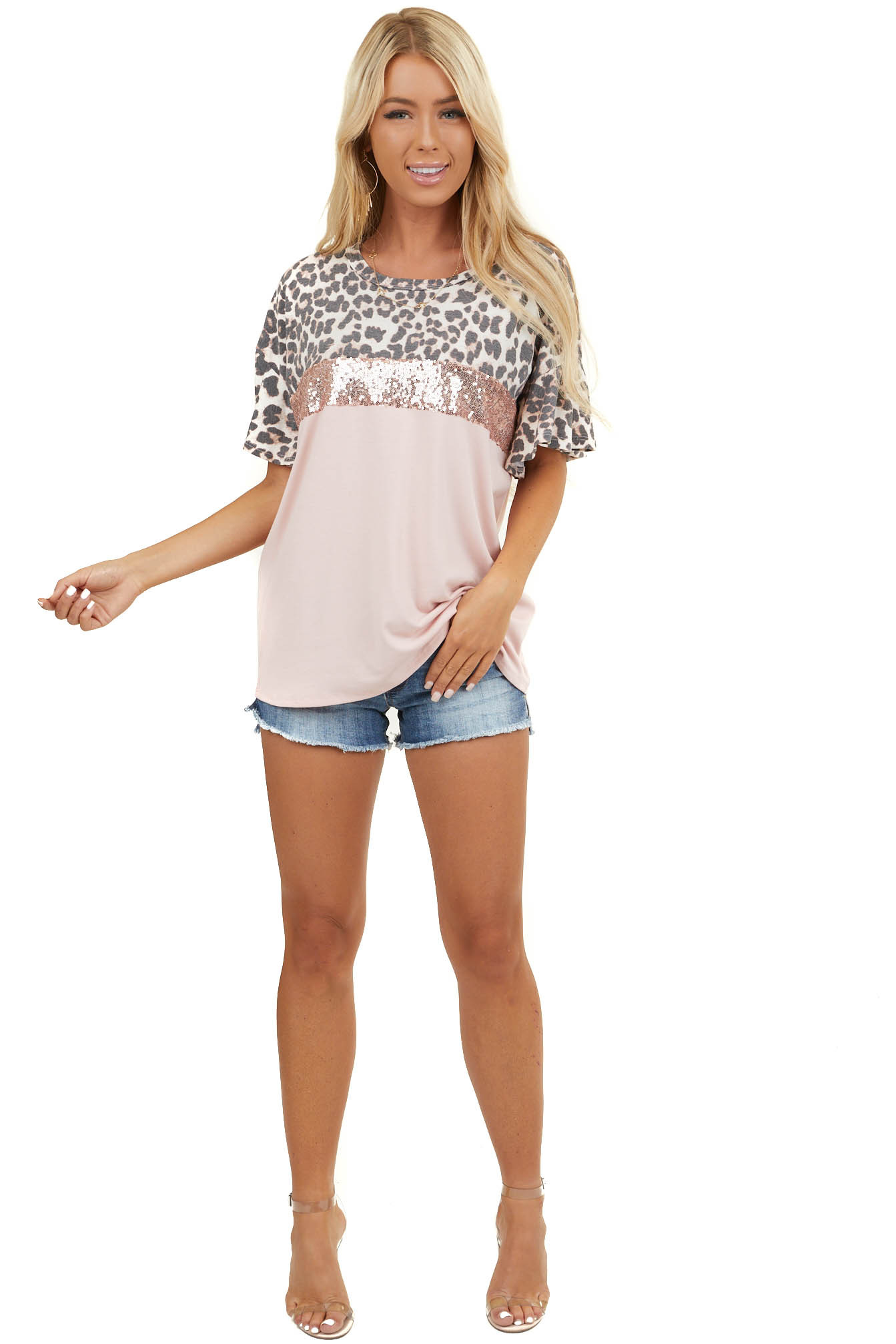 Blush Leopard Print and Sequins Colorblock Short Sleeve Top