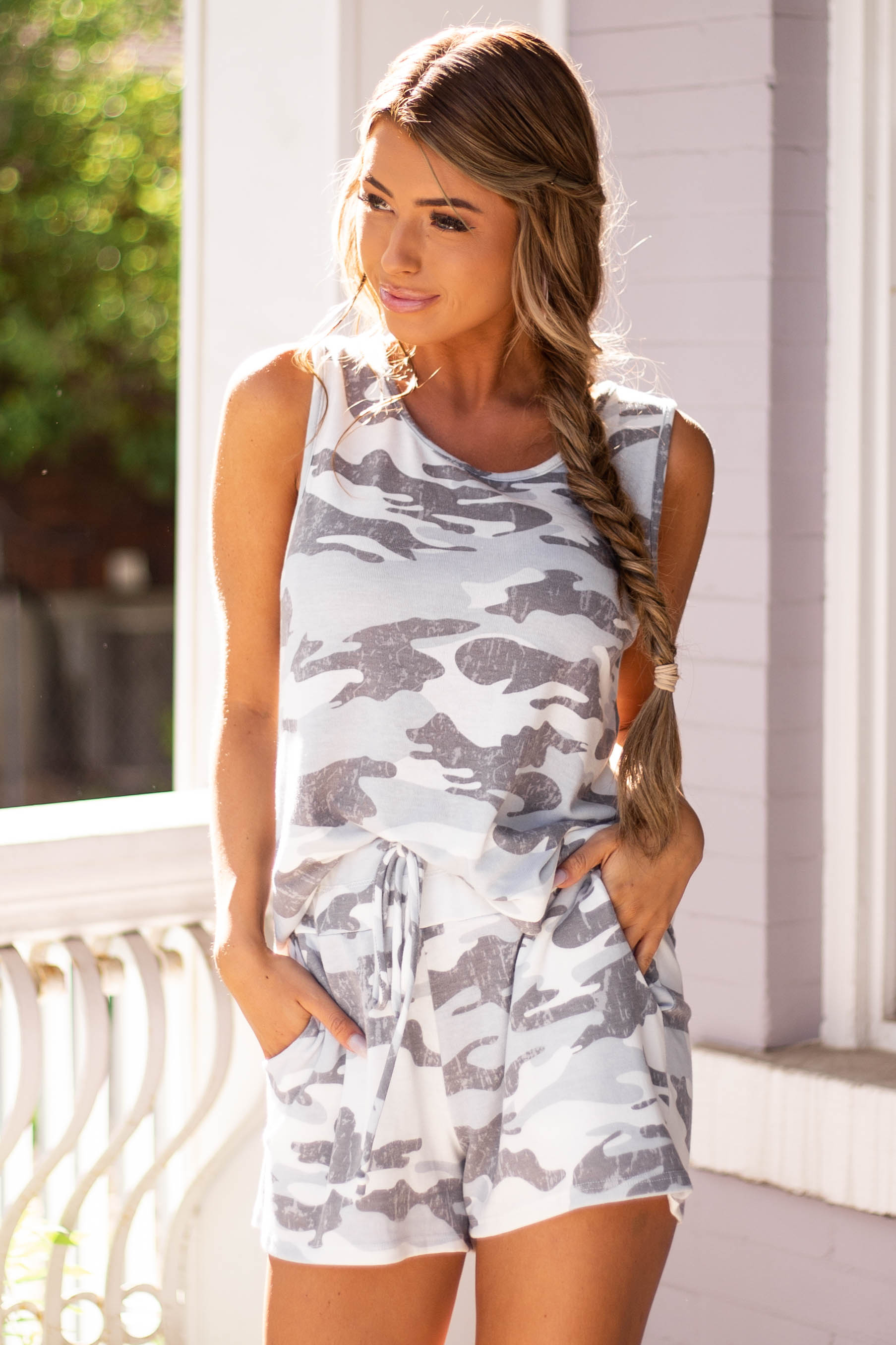 Grey Camo Print Knit Shorts with Waist Tie and Pockets
