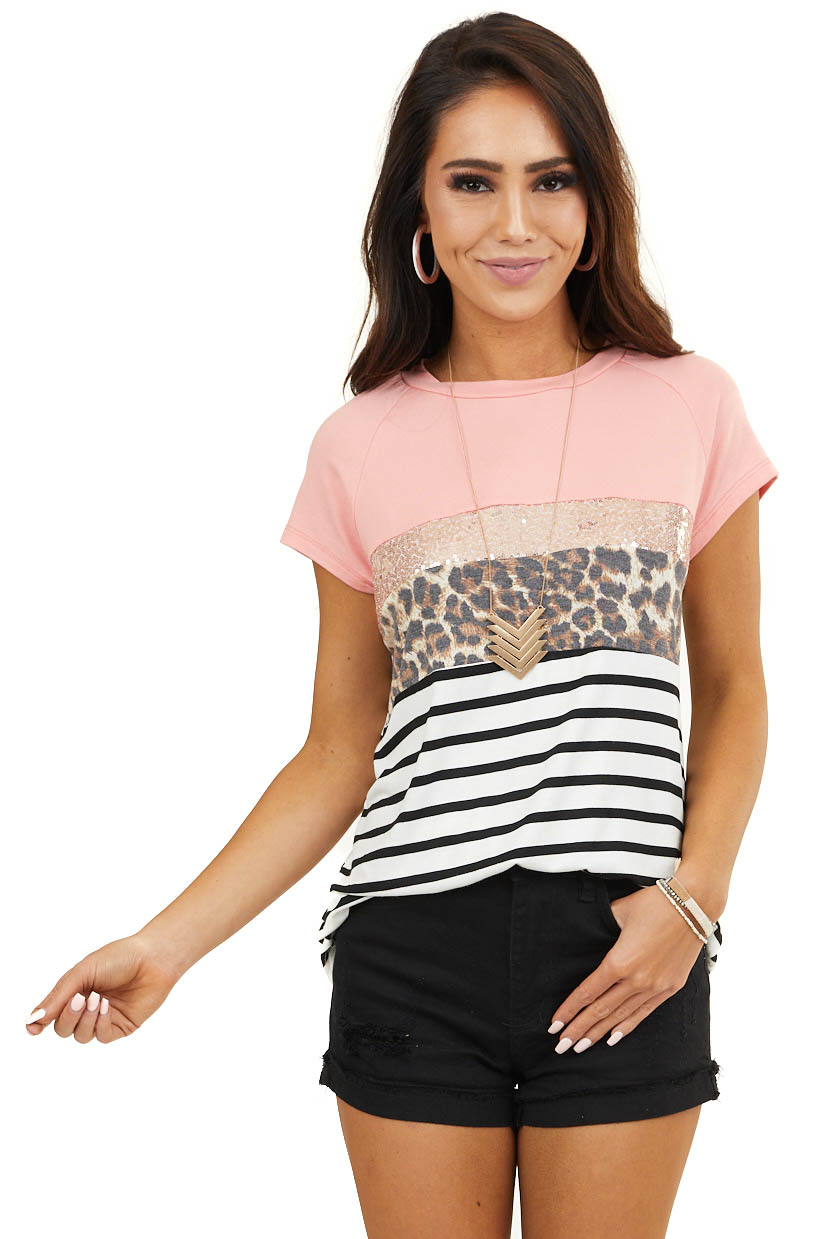 Coral Sequined Top with Leopard and Stripe Print Contrasts