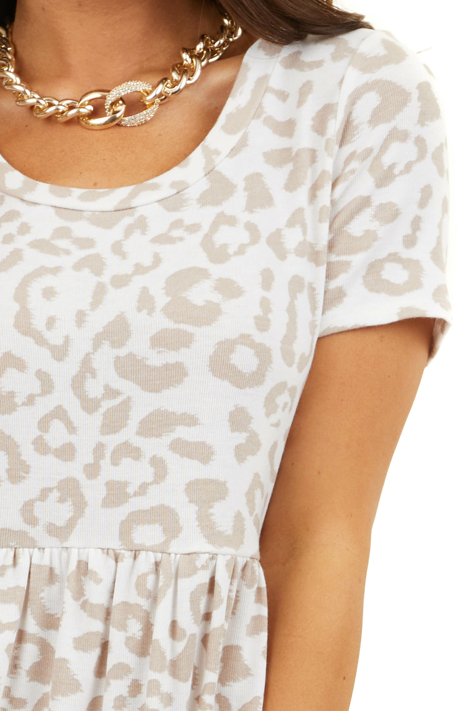 Ivory Leopard Print Babydoll Knit Dress with Short Sleeves