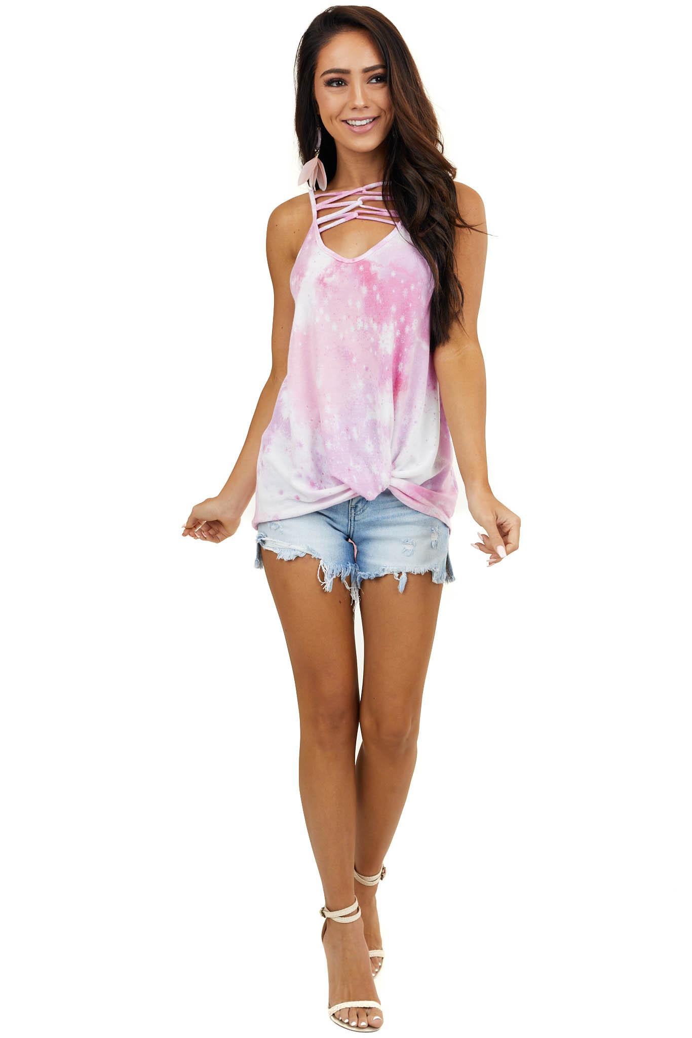 Baby Pink Tie Dye Tank Top with Caged Neckline Detail