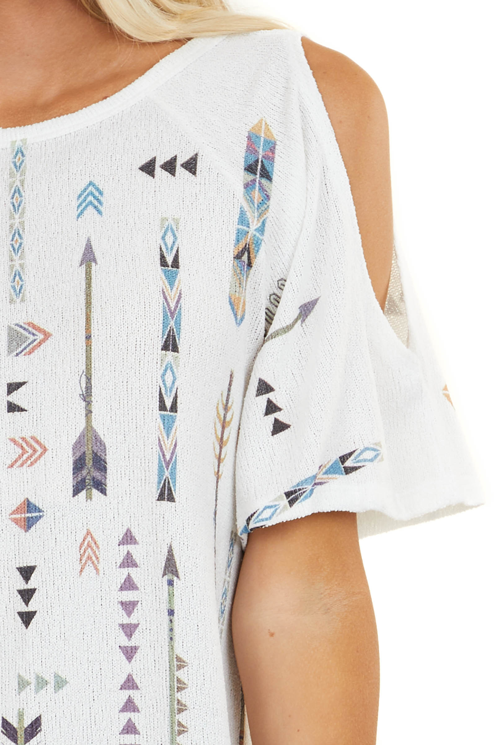 Off White Cold Shoulder Knit Top with Multicolor Aztec Print