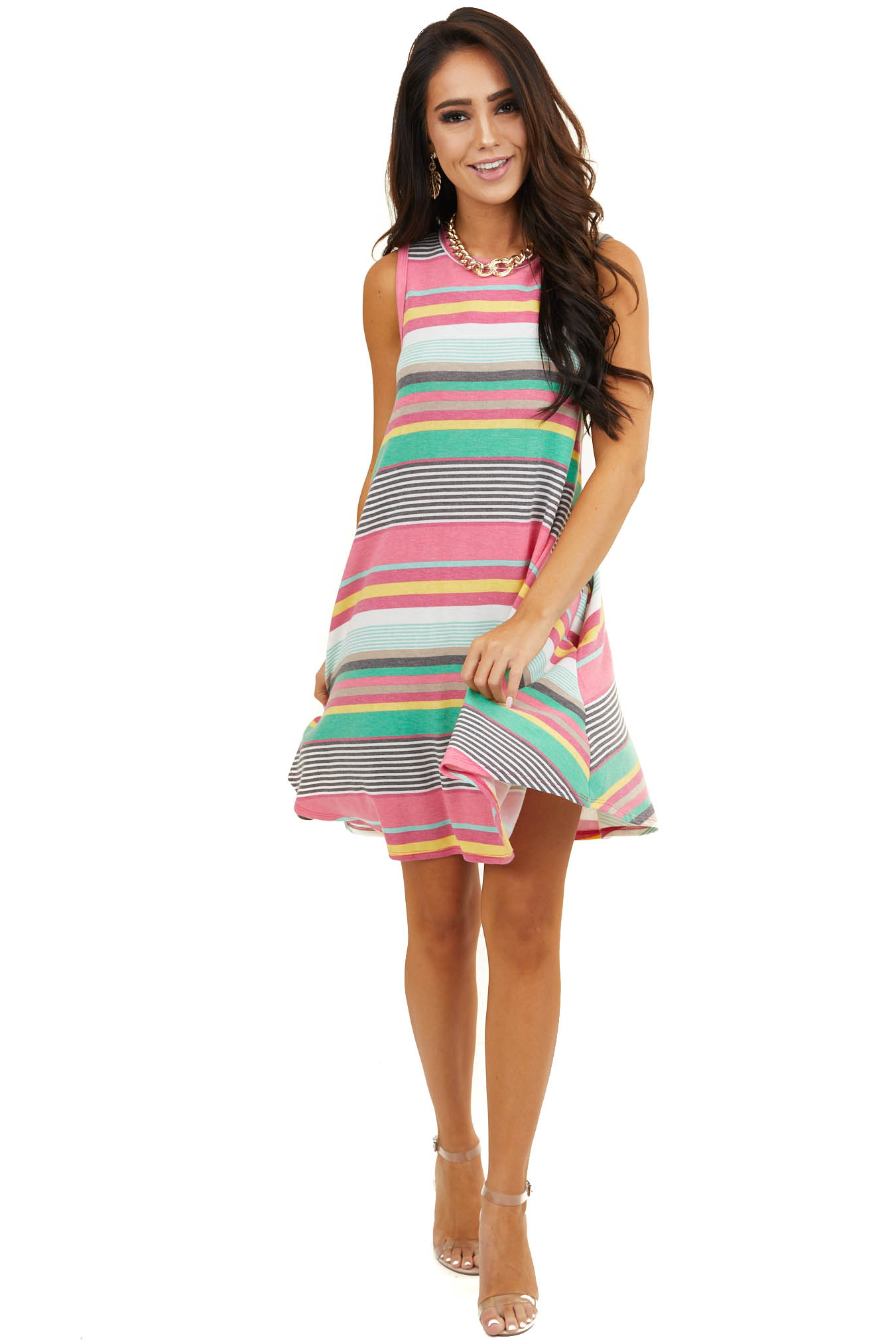 Dark Pink Multicolor Striped Sleeveless Dress with Pockets