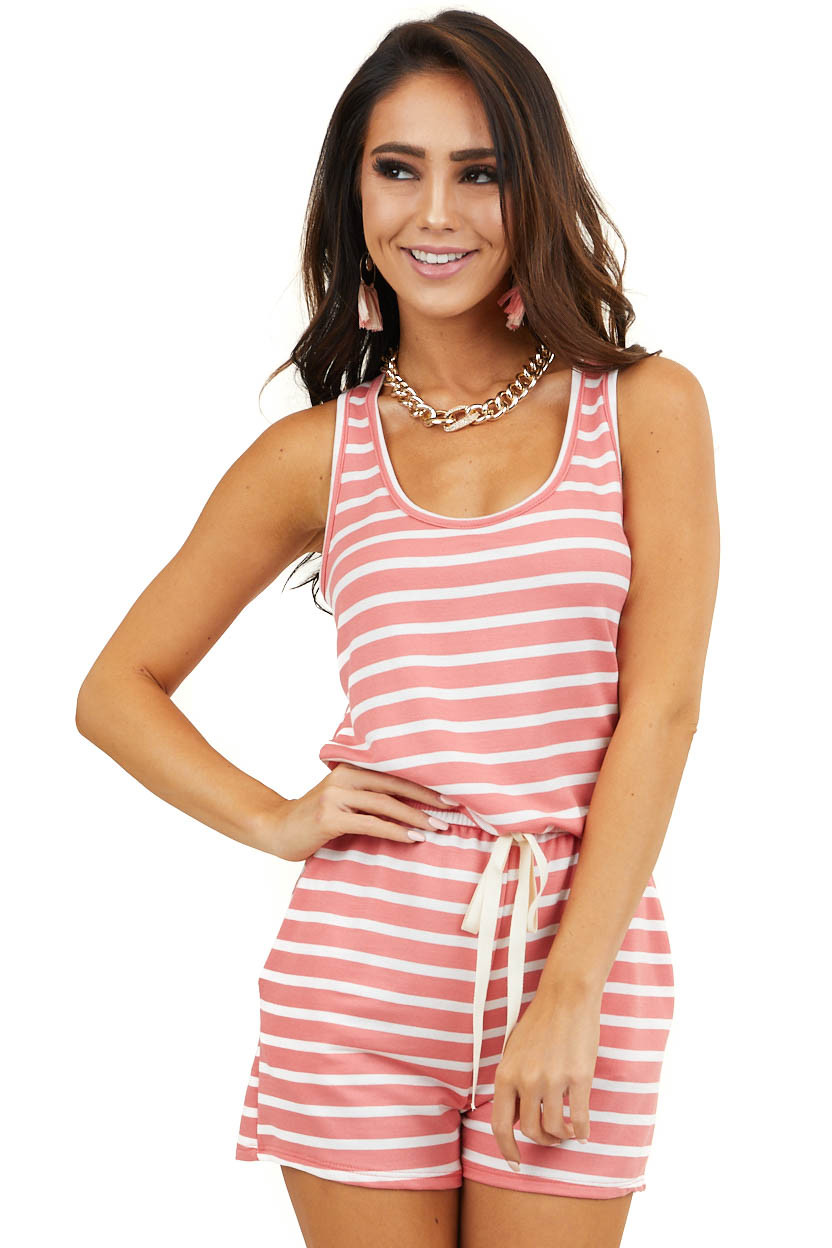 Coral and Off White Striped Sleeveless Romper with Tie