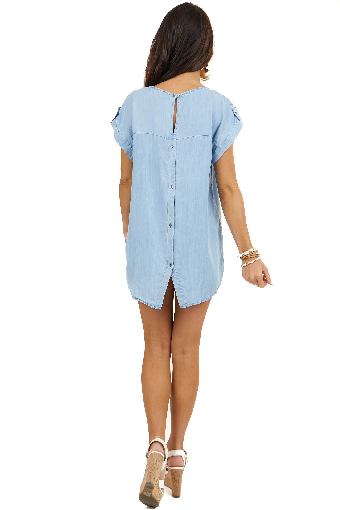 Light Wash Denim Top with Chest Pocket and Buttoned Back