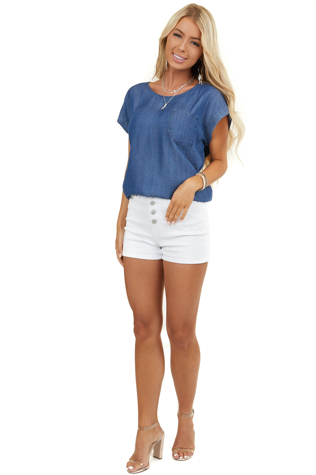 Medium Wash Denim Top with Chest Pocket and Buttoned Back