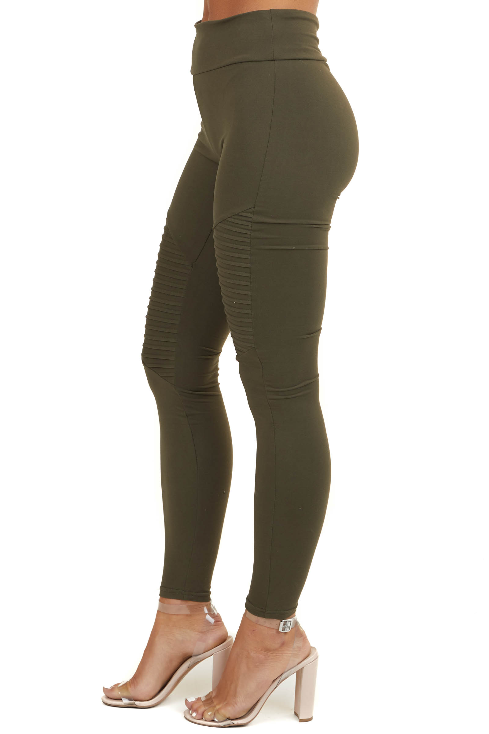 Olive Green High Waisted Stretchy Moto Leggings