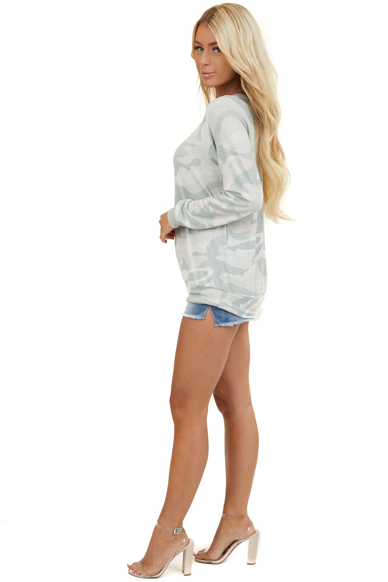 Light Sage Camo Print Long Sleeve Top with Rounded Neckline