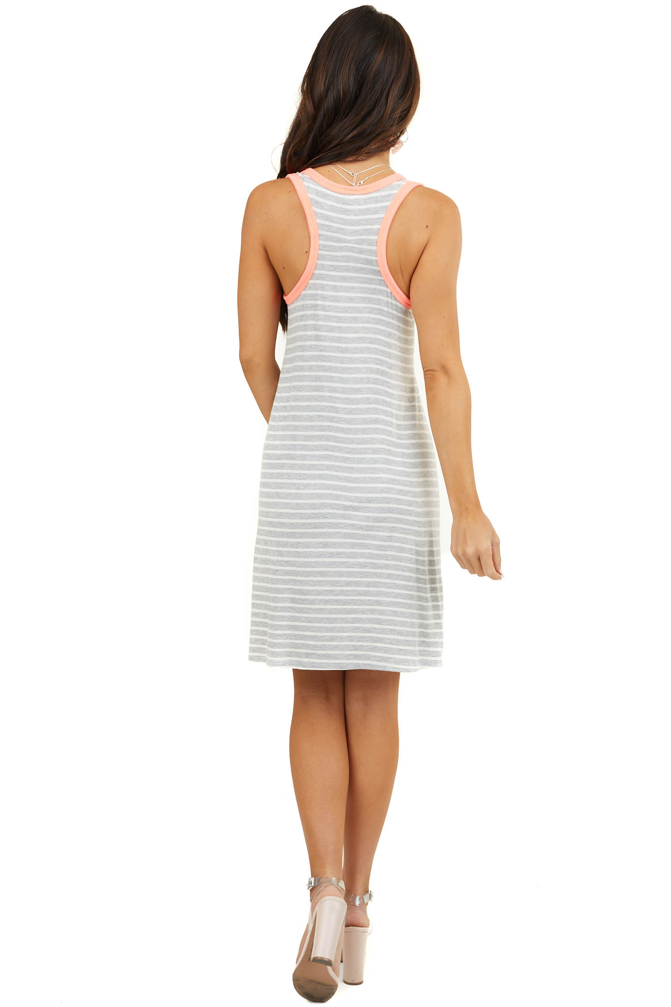 Grey and White Striped Racerback Dress with Leopard Pocket