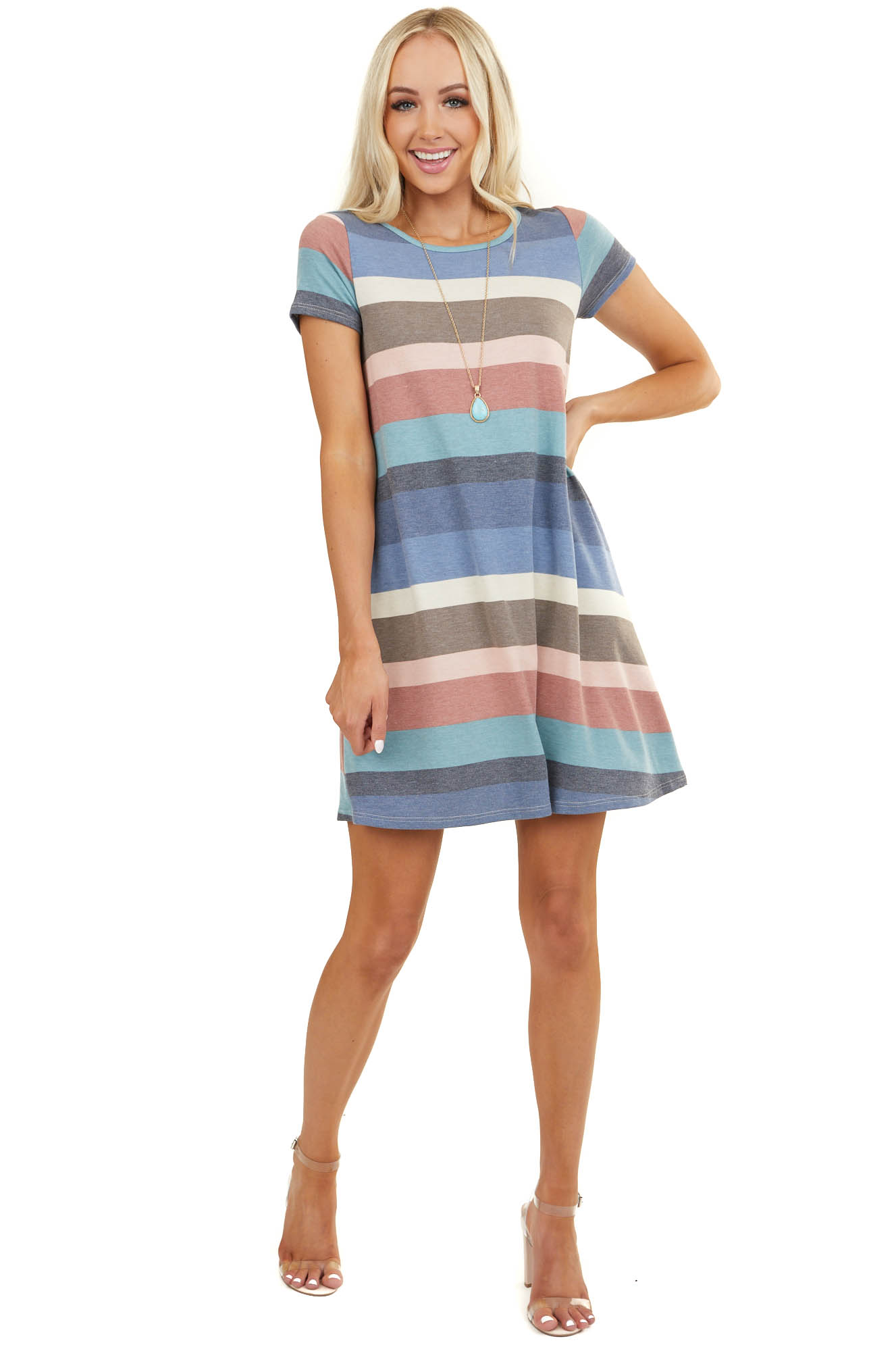 Blue Multicolor Striped Short Sleeve Knit Dress with Pockets