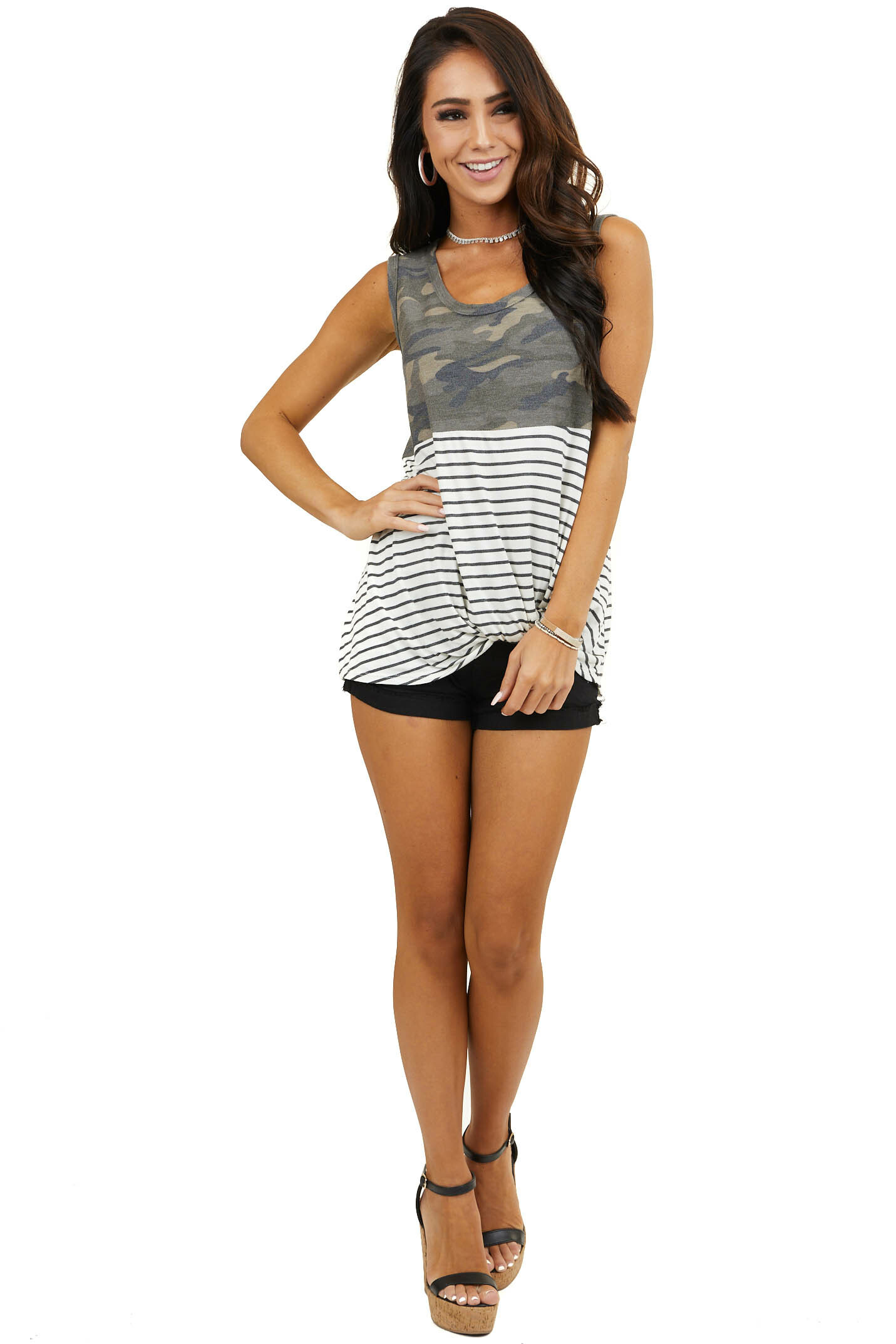 Hunter Green Camo and Striped Tank Top with Front Twist