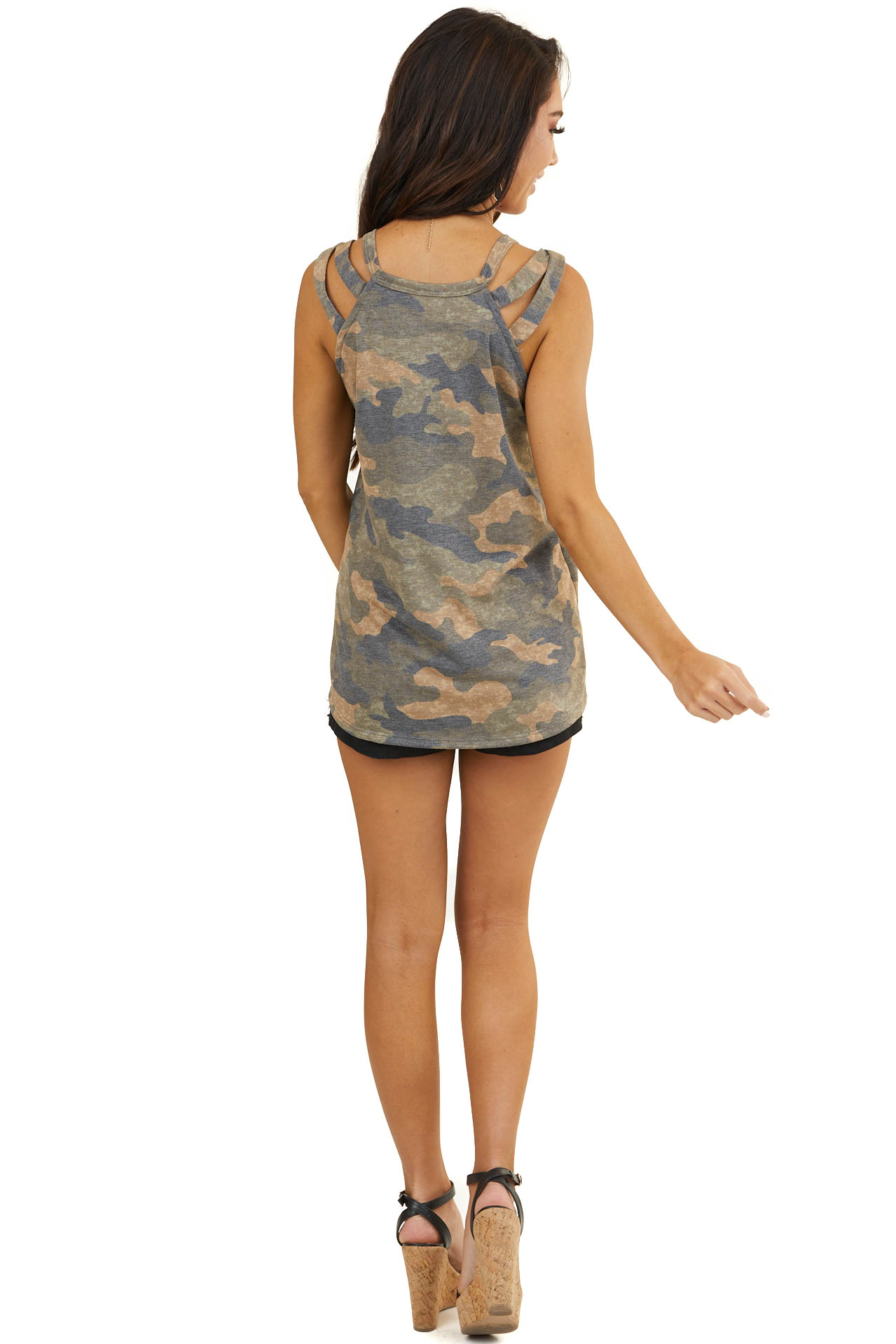 Latte Camo Print Sleeveless Knit Top with Strappy Details