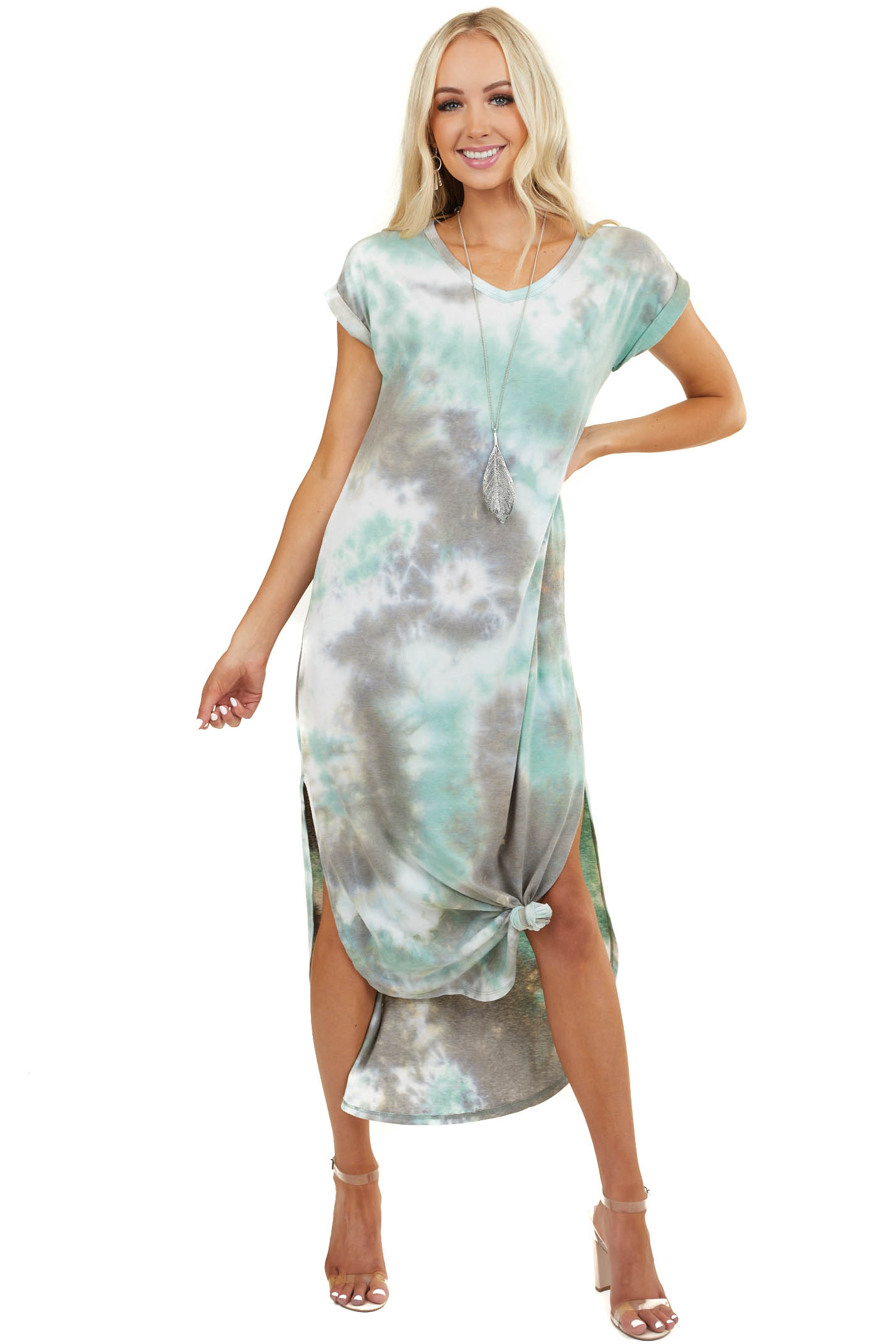 Mint Tie Dye Short Sleeve T Shirt Maxi Dress with Pockets