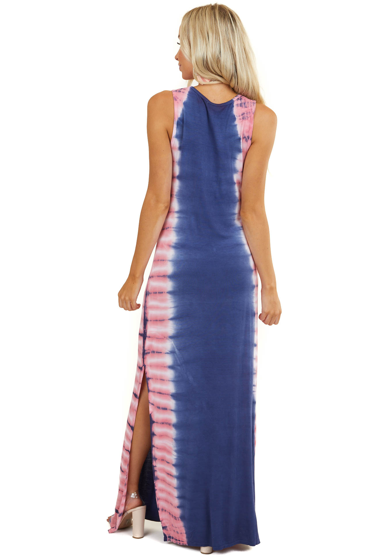 Navy and Pink Tie Dye Sleeveless Maxi Dress with Side Slit