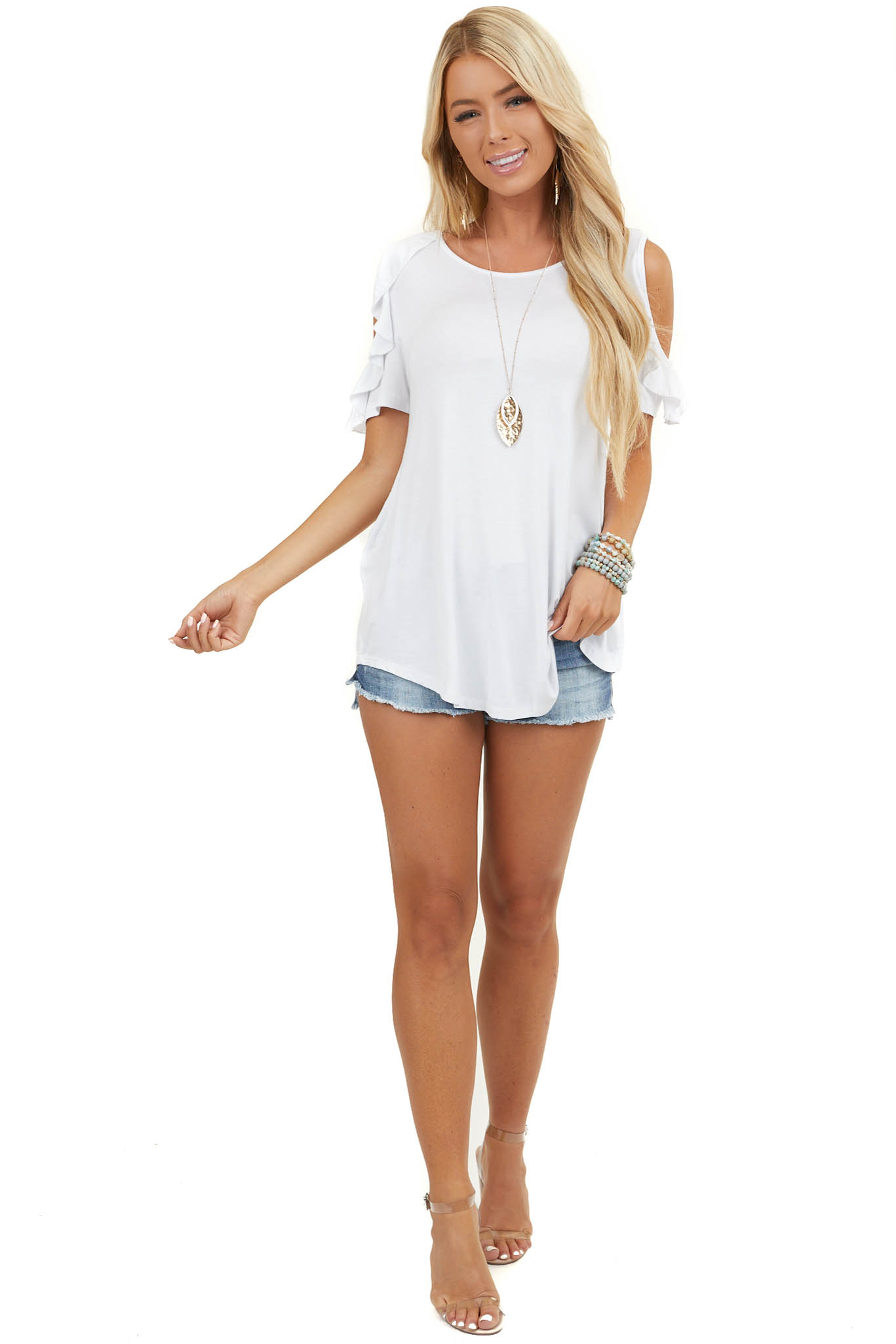 Pearl White Cold Shoulder Top with Ruffle Sleeves