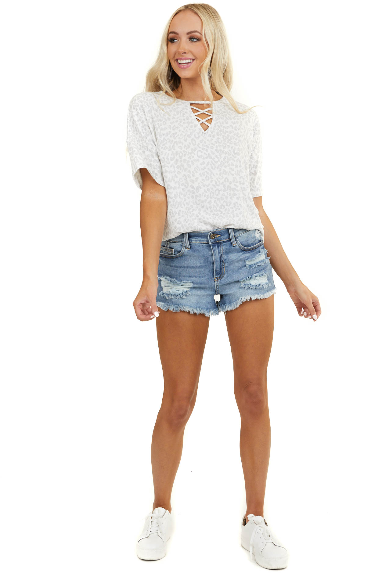 Ivory and Grey Leopard Print Top with Caged Neckline Detail
