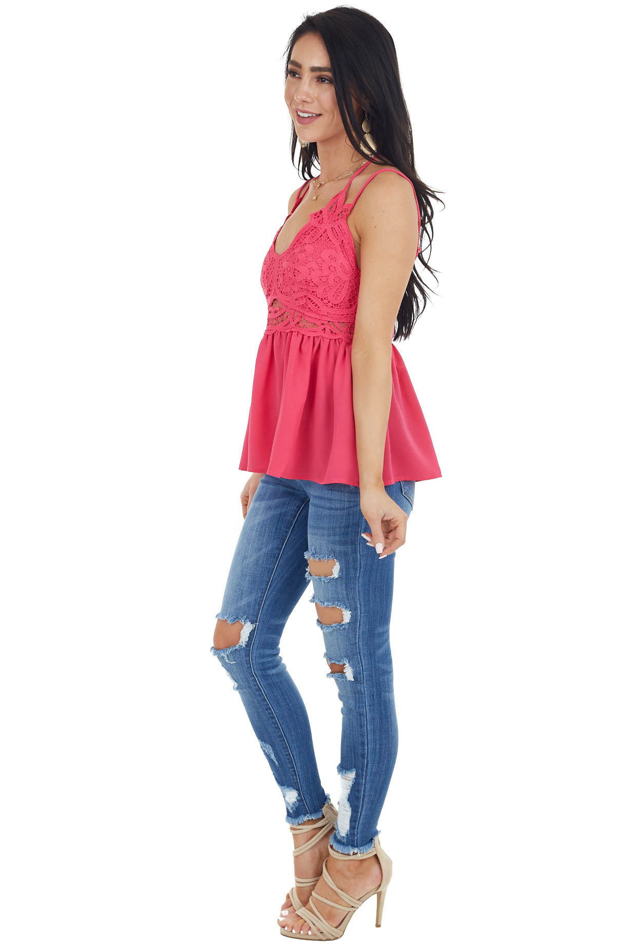 Hot Pink Babydoll Top with Lace Bust and Peekaboo Waist