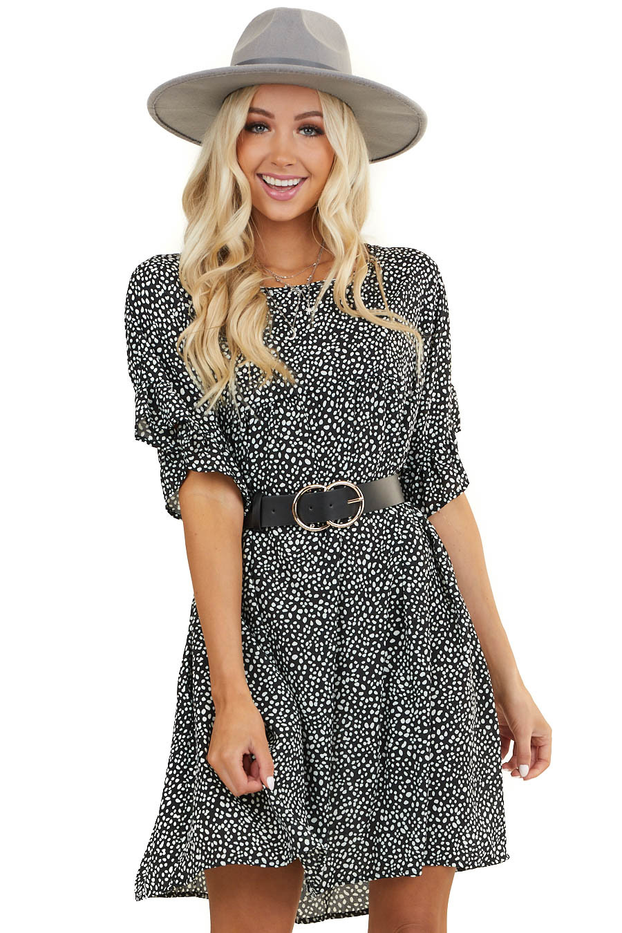 Black Abstract Print Babydoll Dress with Ruffled Sleeves