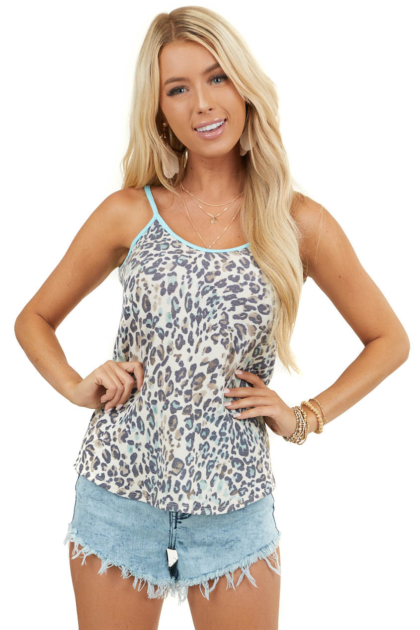 Cream and Turquoise Leopard Print Round Neck Tank Top