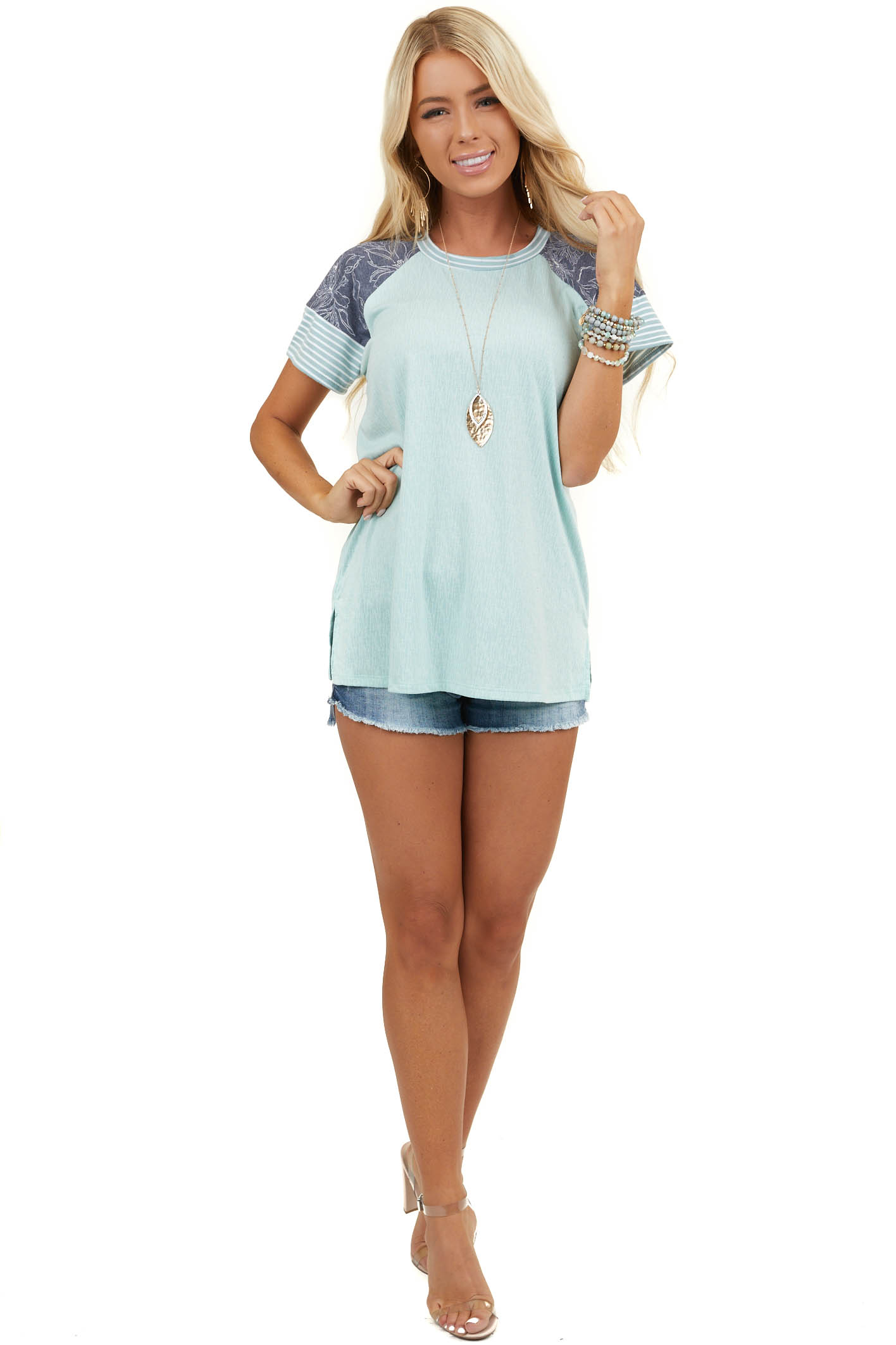 Mint Textured Short Sleeve Top with Navy Patterned Sleeves