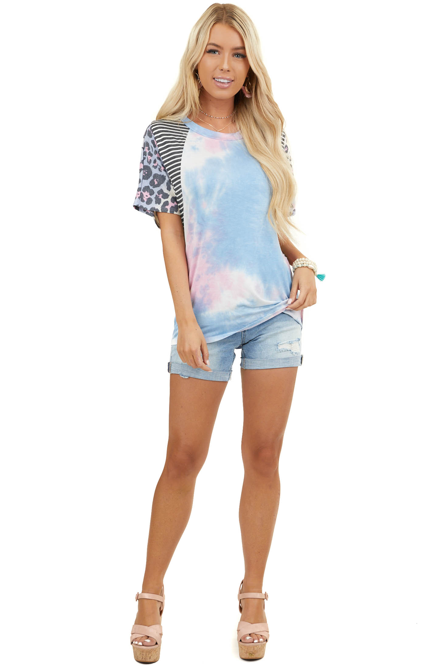 Pink Multiprint Knit Top with Dolman Short Sleeves