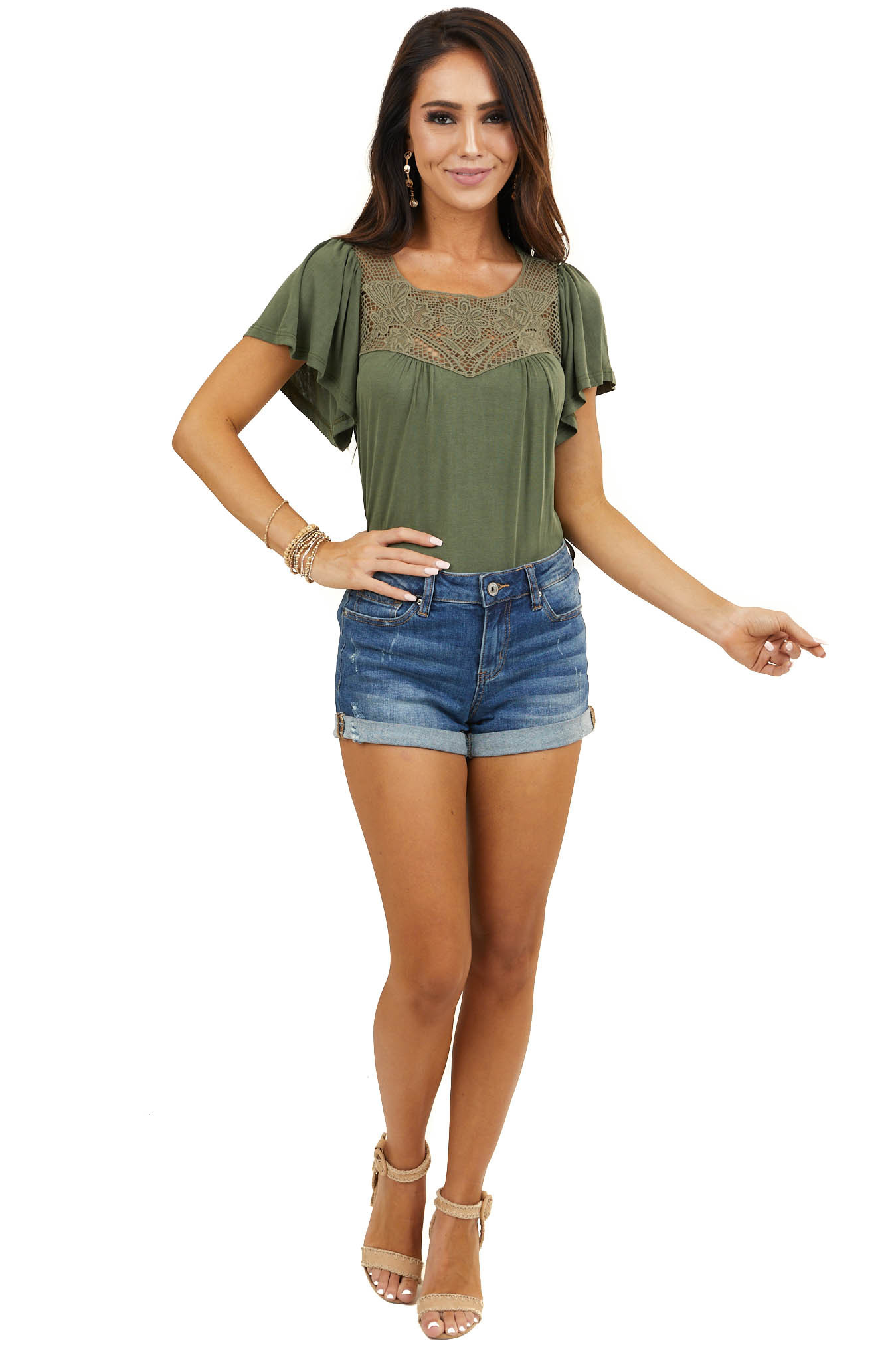 Olive Green Short Sleeve Knit Top with Floral Lace Details