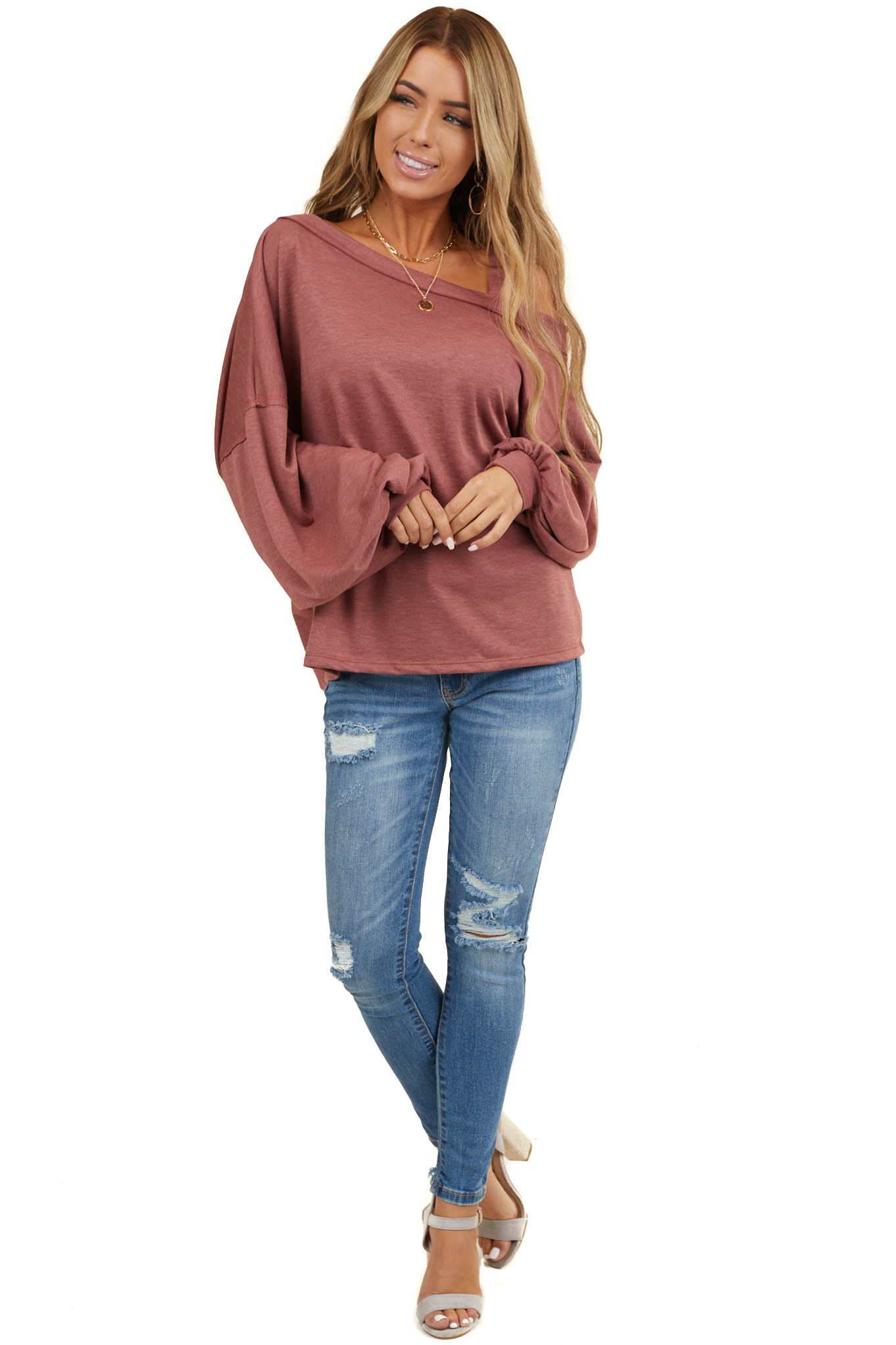 Heathered Marsala Cold Shoulder Top with Long Sleeves