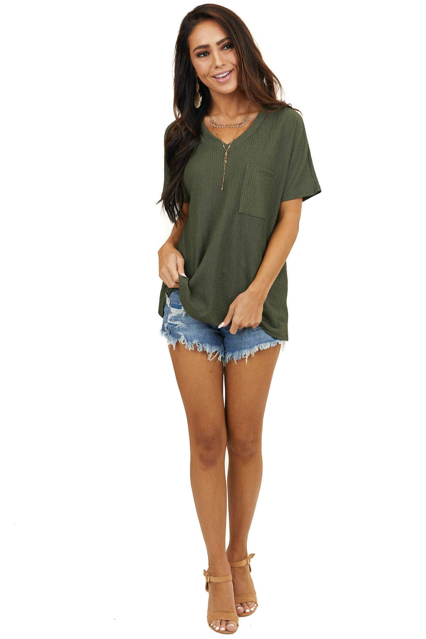 Forest Green V Neck Top with Short Sleeves and Front Pocket
