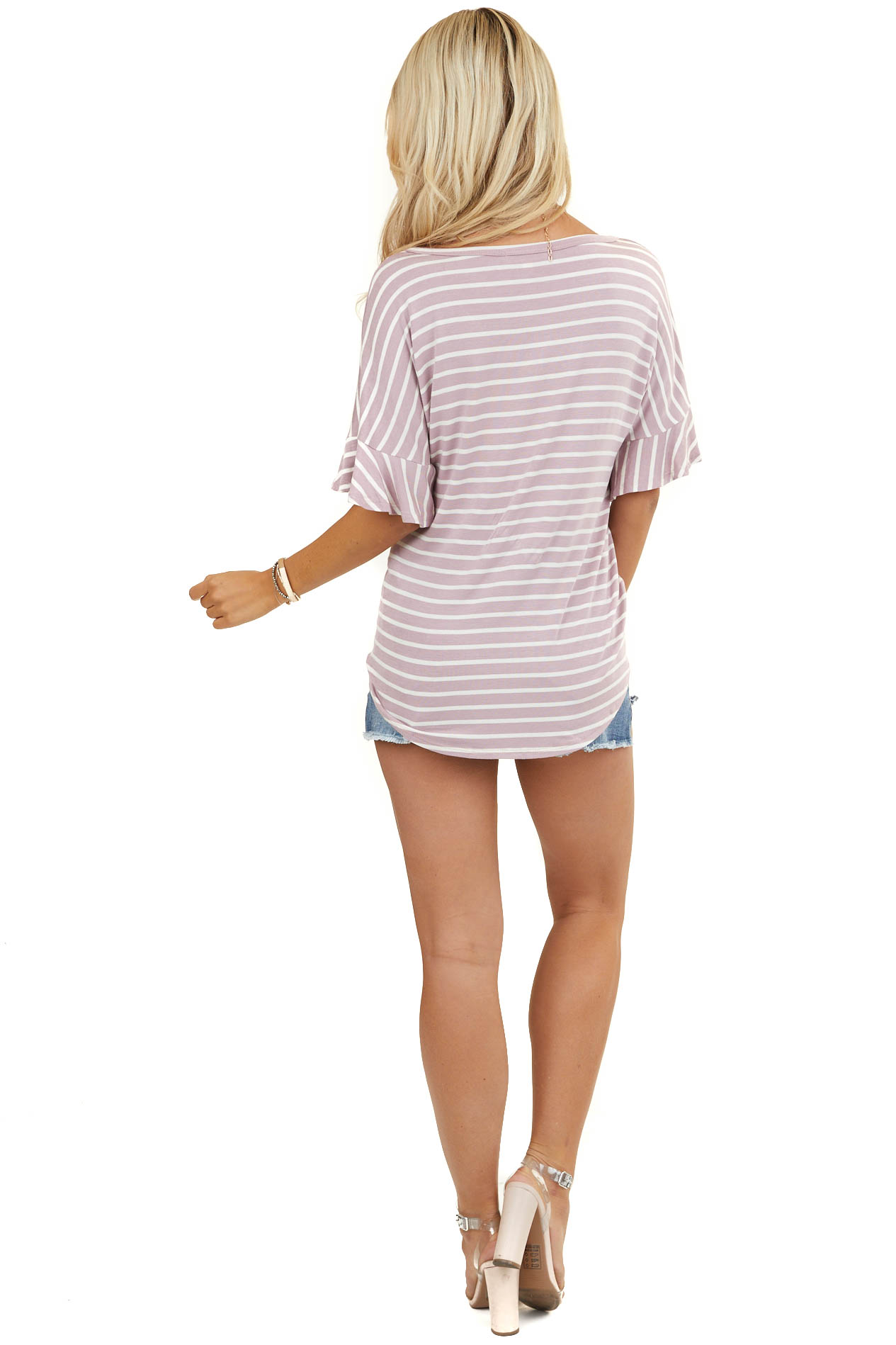 Lavender and Ivory Striped Top with Ruffle Sleeve and Knot