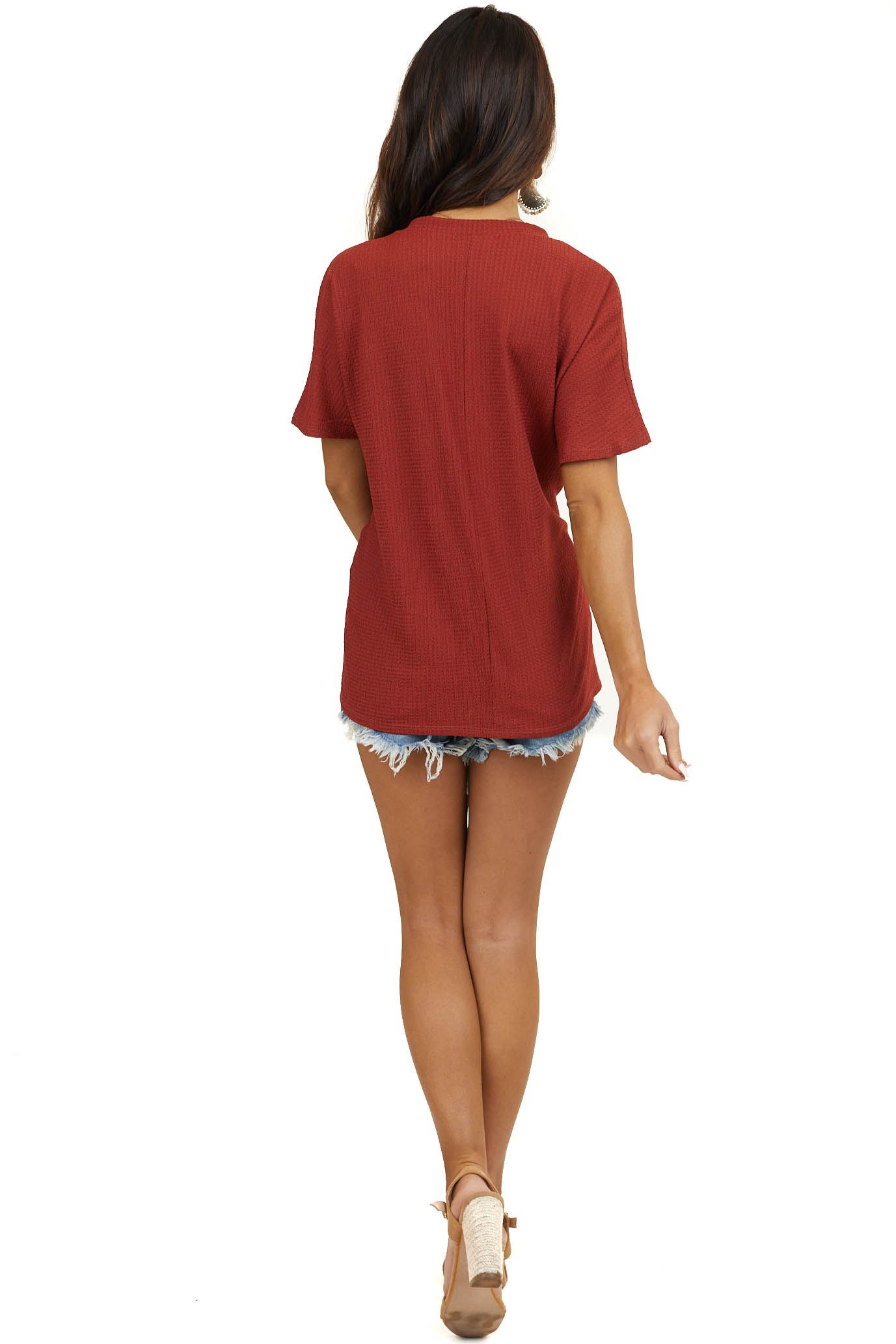 Dark Rust V Neck Top with Short Sleeves and Front Pocket
