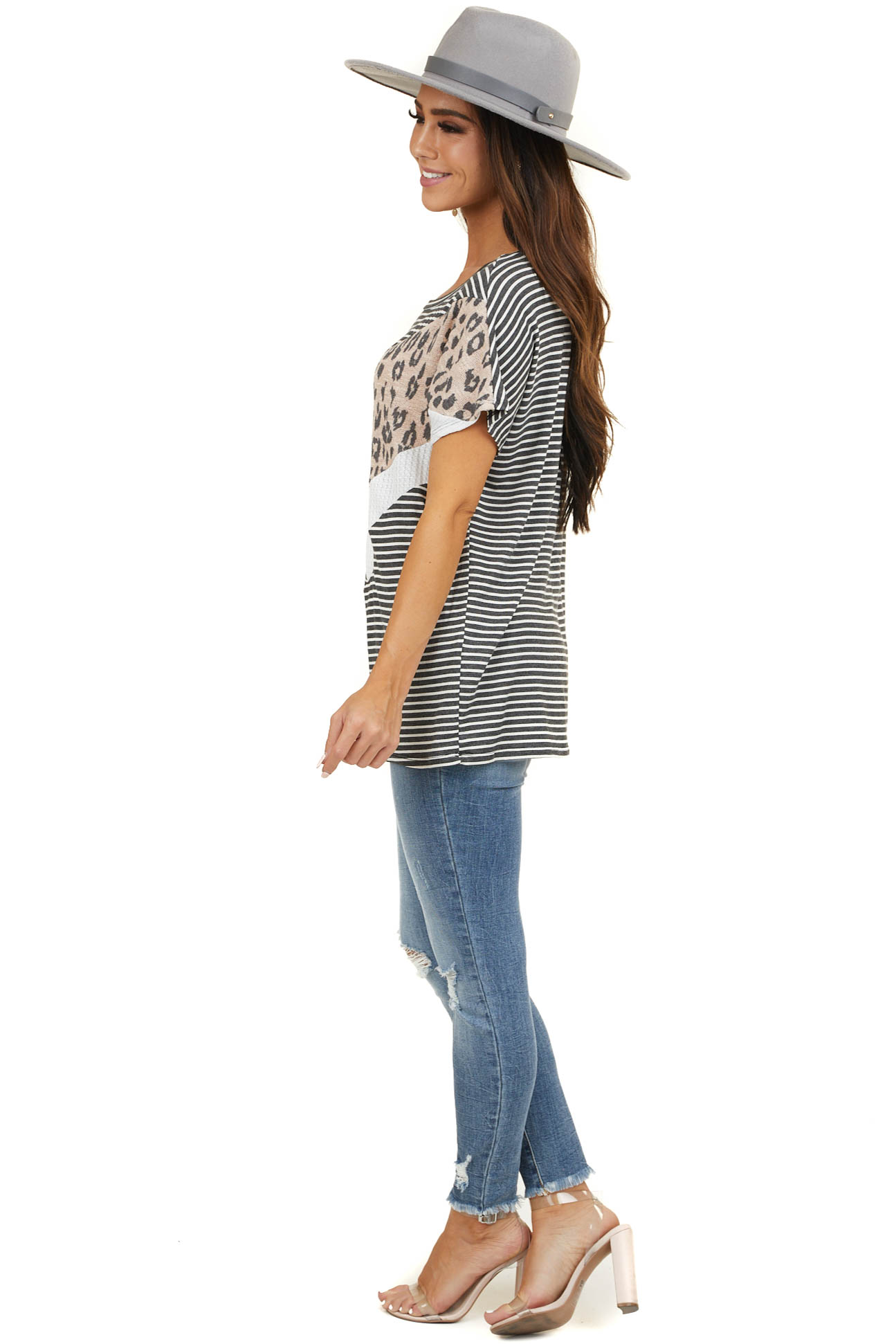 Charcoal Striped Multiprint Knit Top with Chevron Contrast