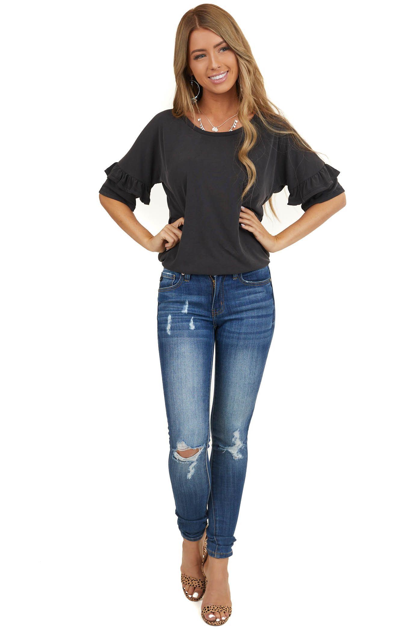 Slate Black Casual Top with Short Tiered Ruffle Sleeves