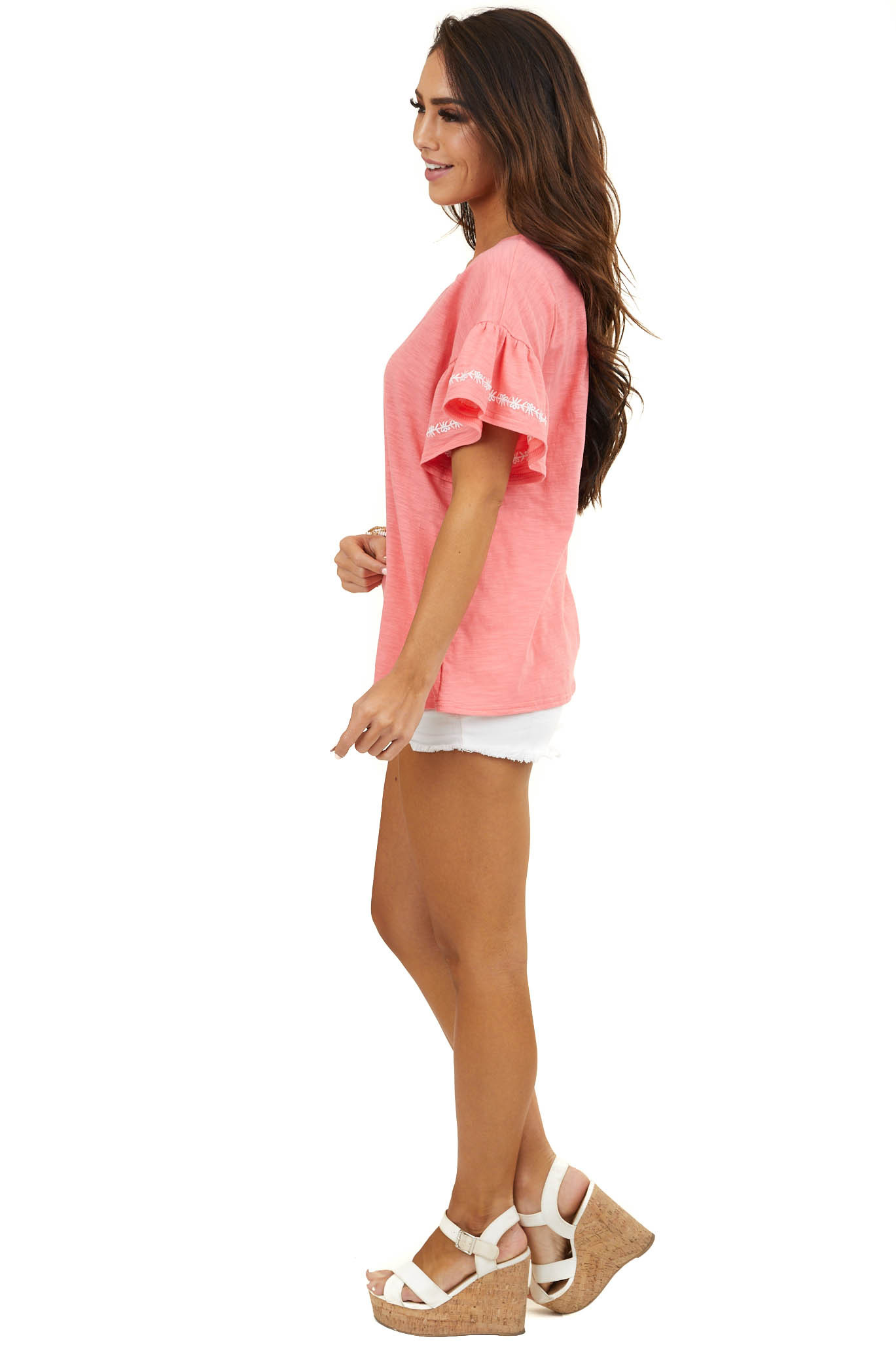 Bright Coral Top with Ruffle Sleeve and Embroidery Detail