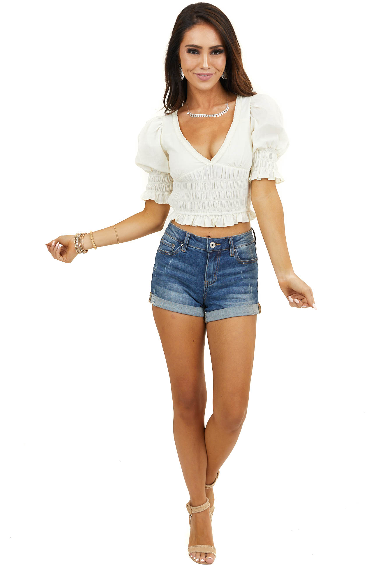Cream Smocked Short Puffy Sleeve Crop Top with Open Back