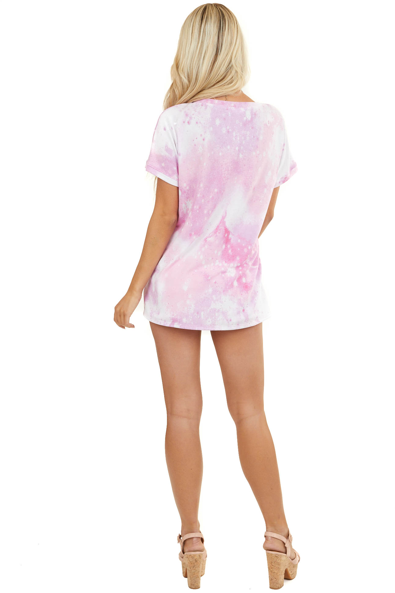 Pink and Off White Tie Dye Short Sleeve Top with V Neckline