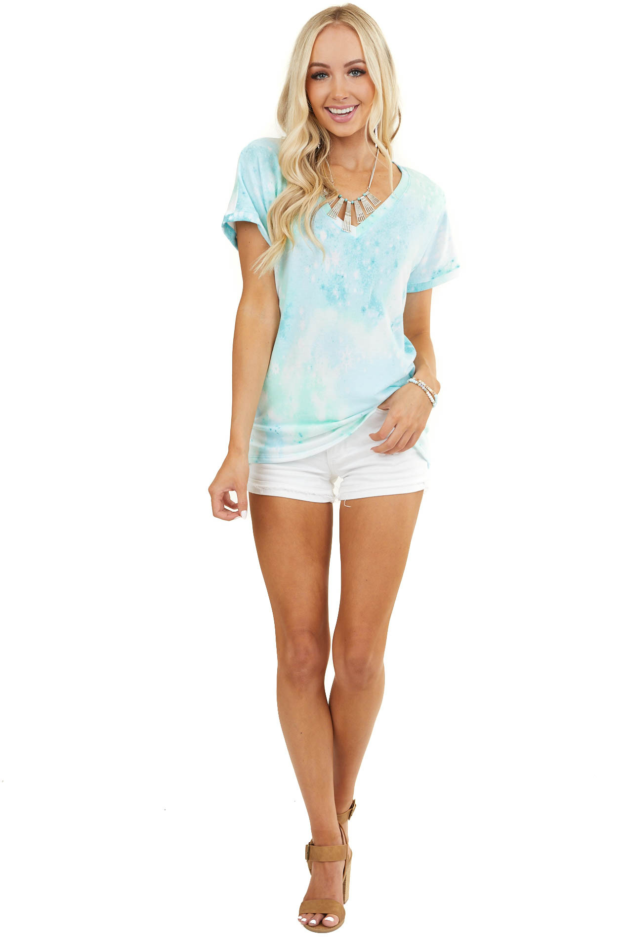 Mint and Off White Tie Dye Short Sleeve Top with V Neckline