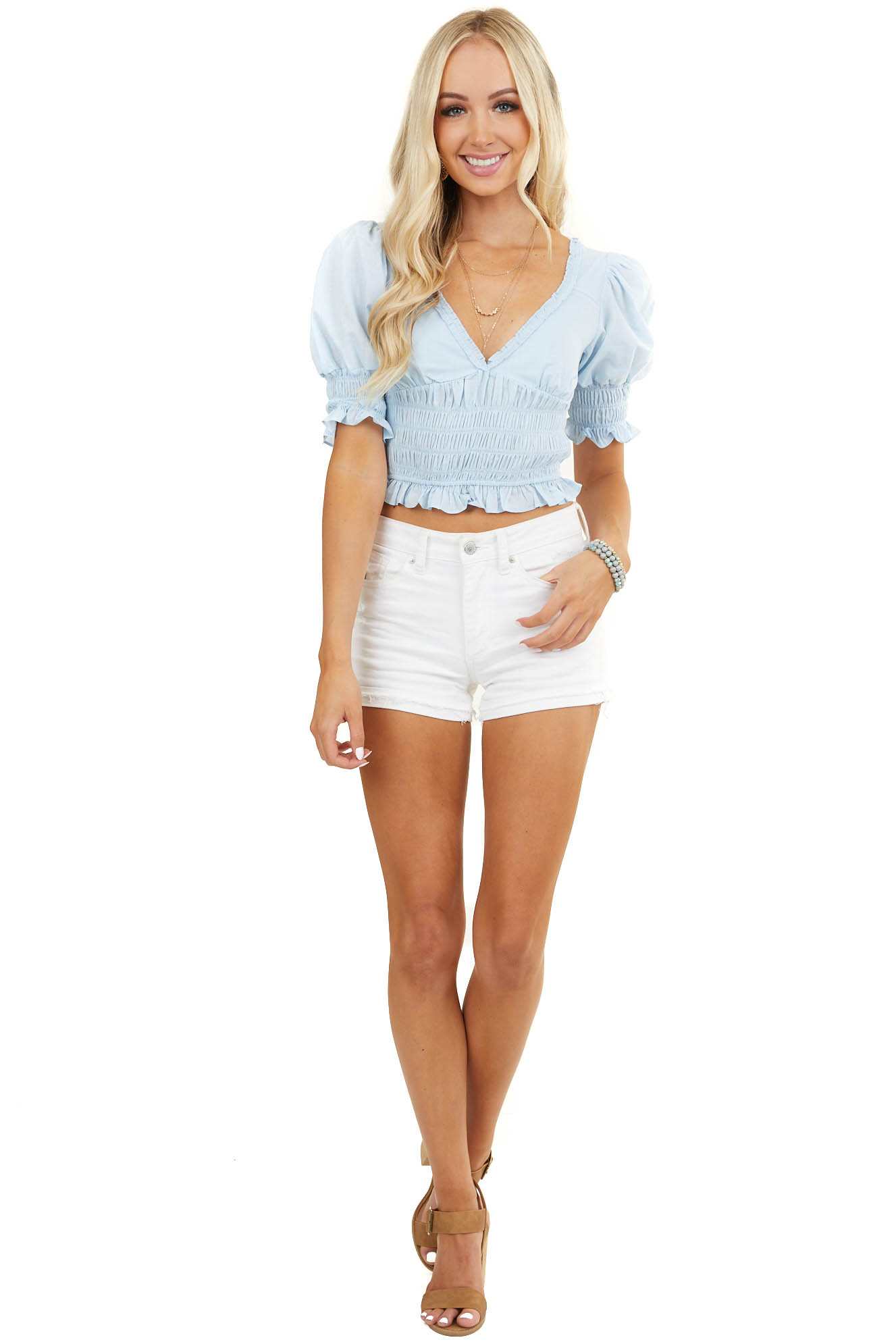 Baby Blue Smocked Short Puffy Sleeve Crop Top with Open Back