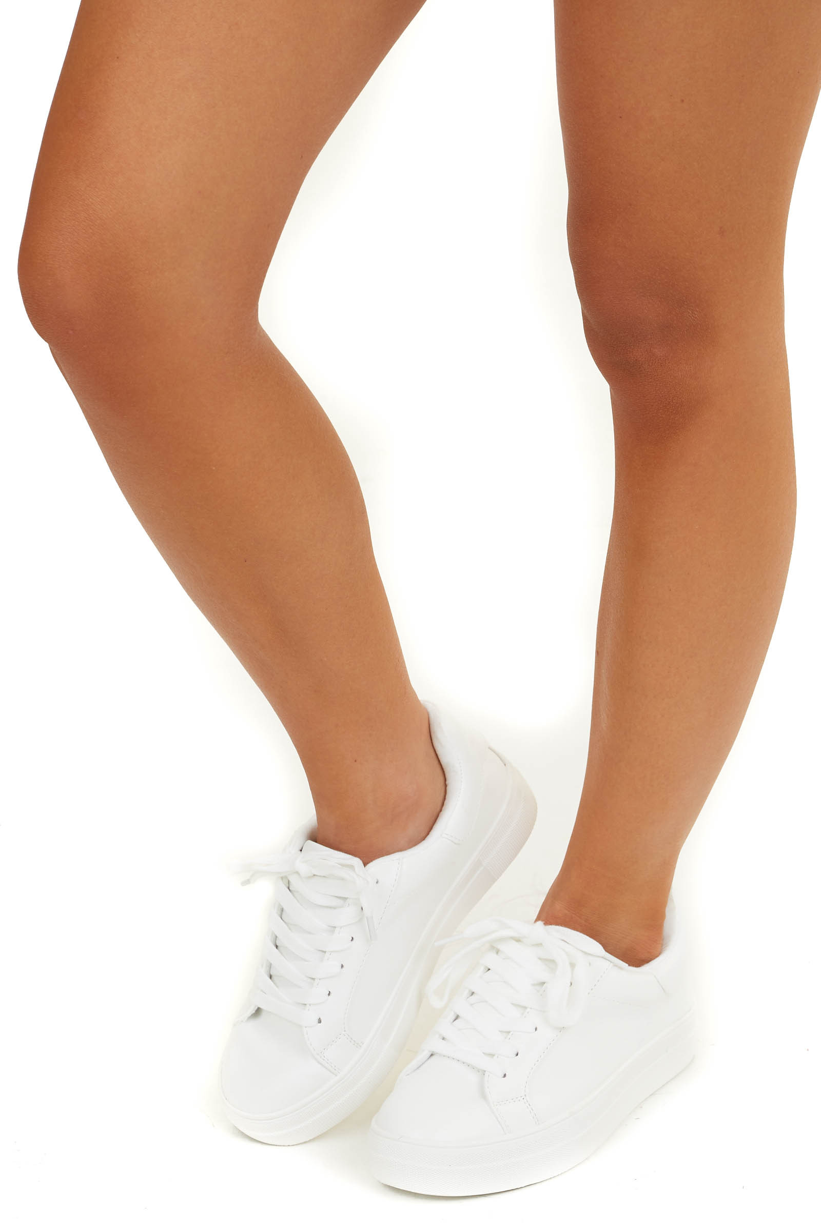 Pearl White Canvas Lace Up Sneakers with Rubber Soles